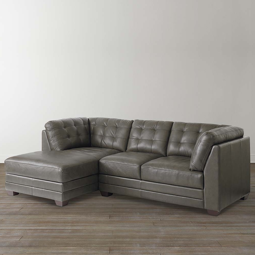 Slate Grey Leather Right Chairse Sectional With Regard To Recent Leather Chaise Sectionals (View 3 of 15)