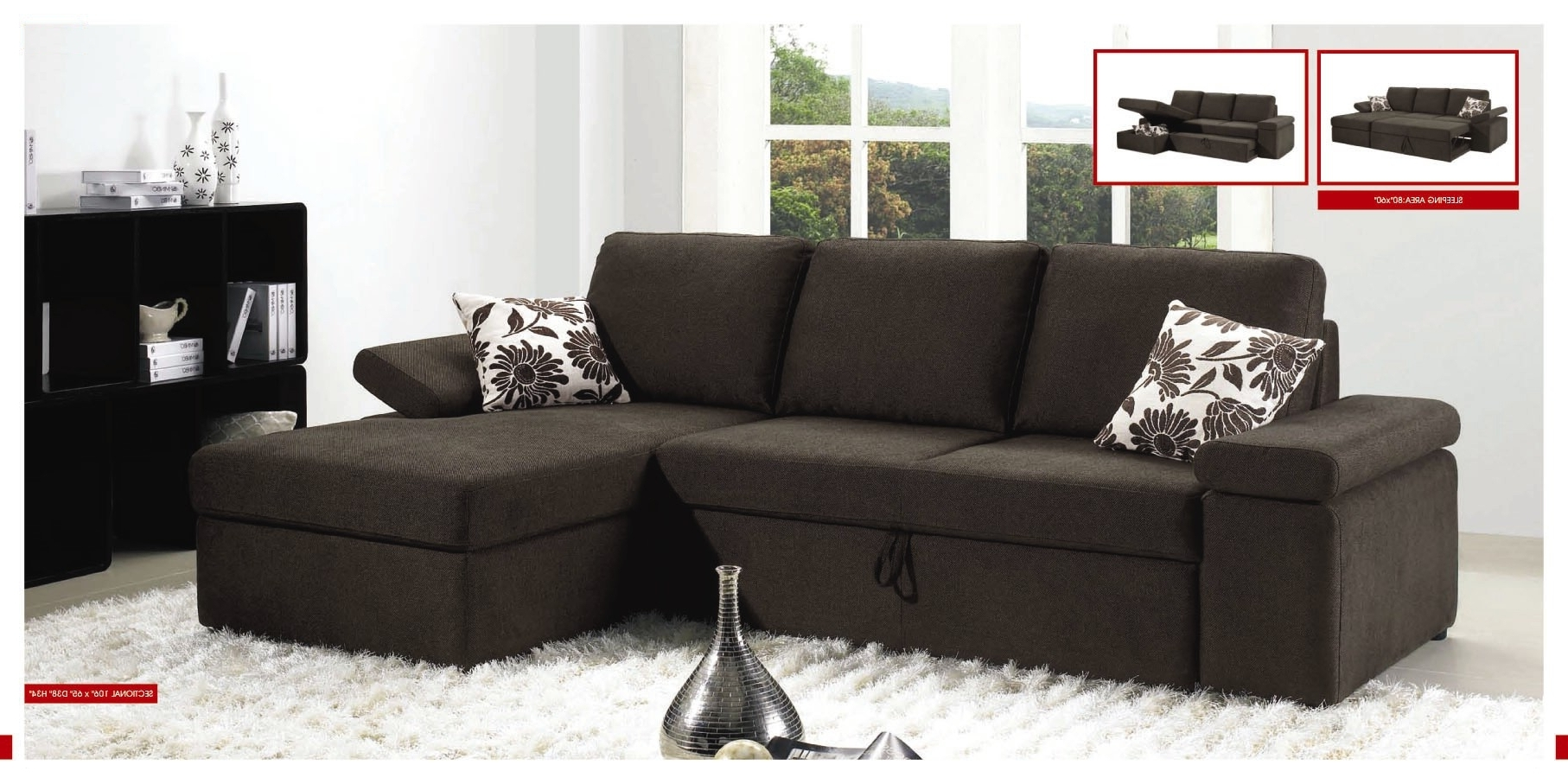 Sleeper Sofas With Chaise And Storage Inside Well Liked Sectional Sleeper Sofa With Storage (View 7 of 15)