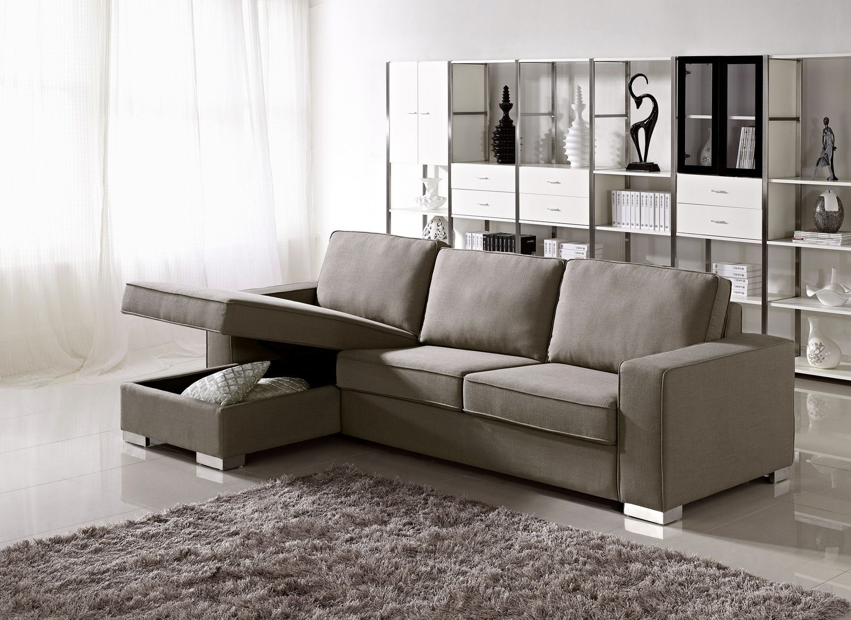 Sleeper Sofas With Chaise Lounge Regarding Preferred Leather Armchair And Ottoman Chaise Sofa With Storage Ottoman (View 15 of 15)