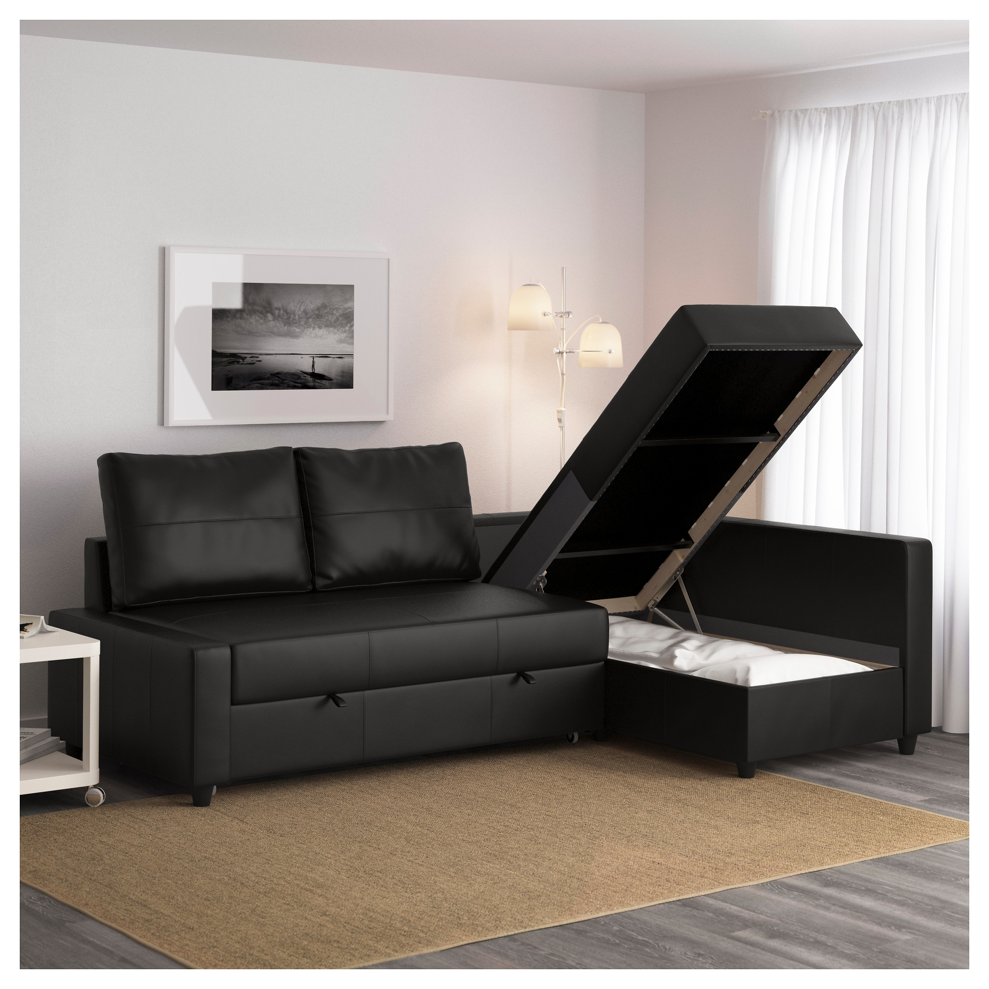 Sleeper Sofas With Storage Chaise Intended For Popular Friheten Sleeper Sectional,3 Seat W/storage – Skiftebo Dark Gray (View 9 of 15)