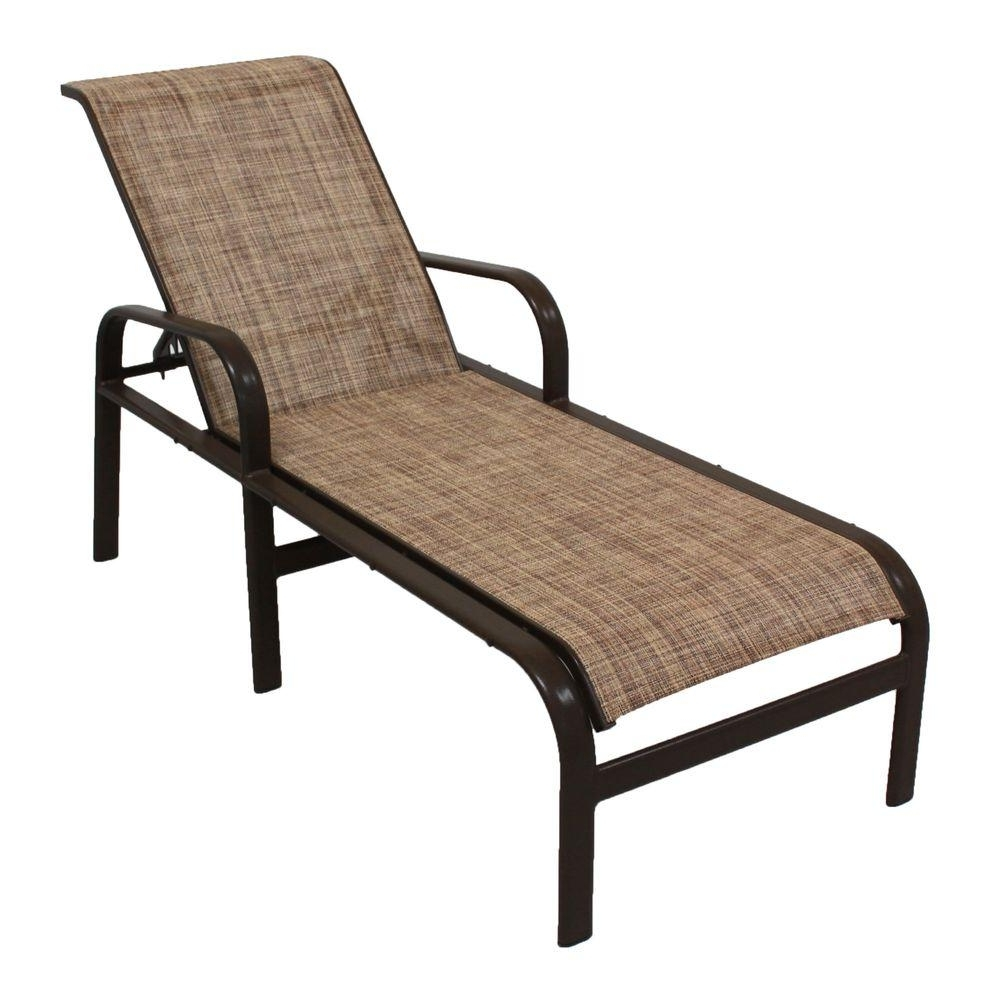 Sling Chaise Lounge Chairs For Outdoor Throughout Most Current Marco Island Dark Cafe Brown Commercial Grade Aluminum Patio (View 13 of 15)