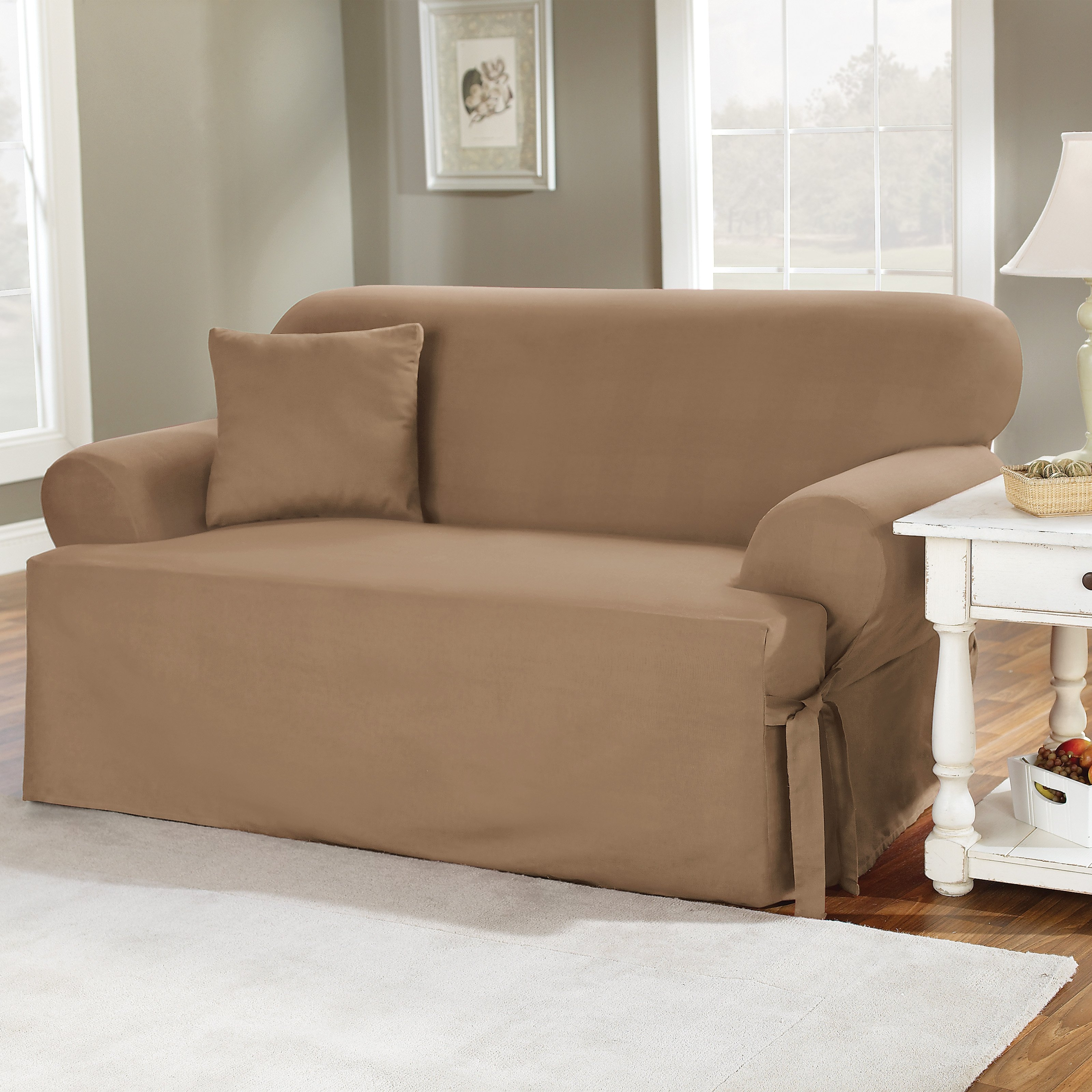 Slipcovers Sofas Throughout Best And Newest Sure Fit Cotton Duck T Cushion Sofa Slipcover (View 10 of 15)