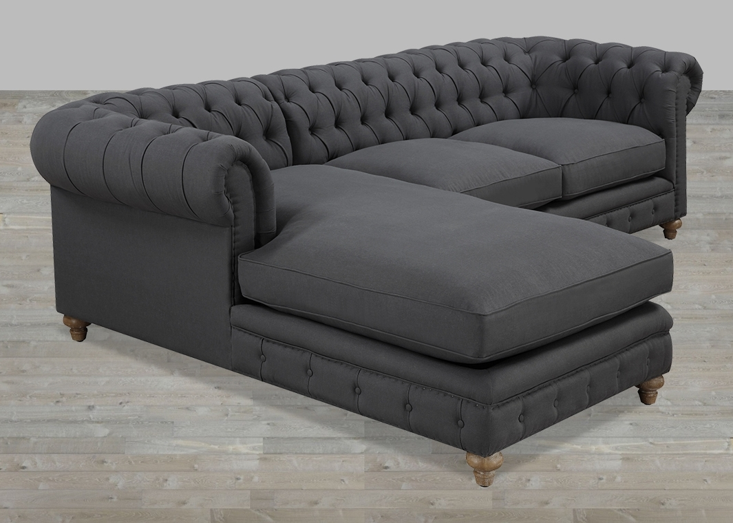 Small Chaise Sofas In Famous Beautiful Tufted Sectional Sofa With Chaise Additional Small (View 7 of 15)