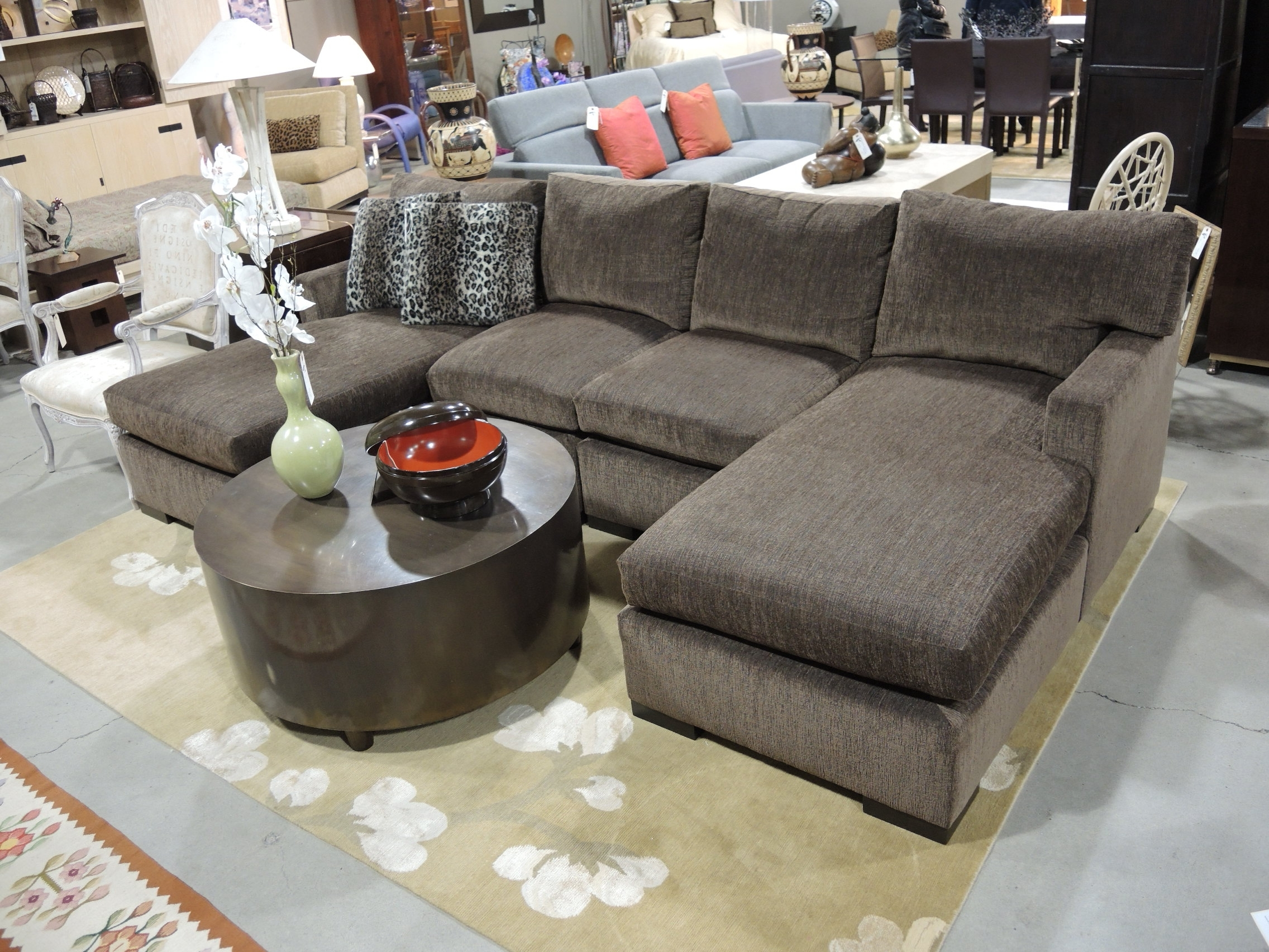 Small Couches With Chaise Lounge For 2017 Small Double Chaise Sectional Sofa With Leopard Pillows And Round (View 9 of 15)