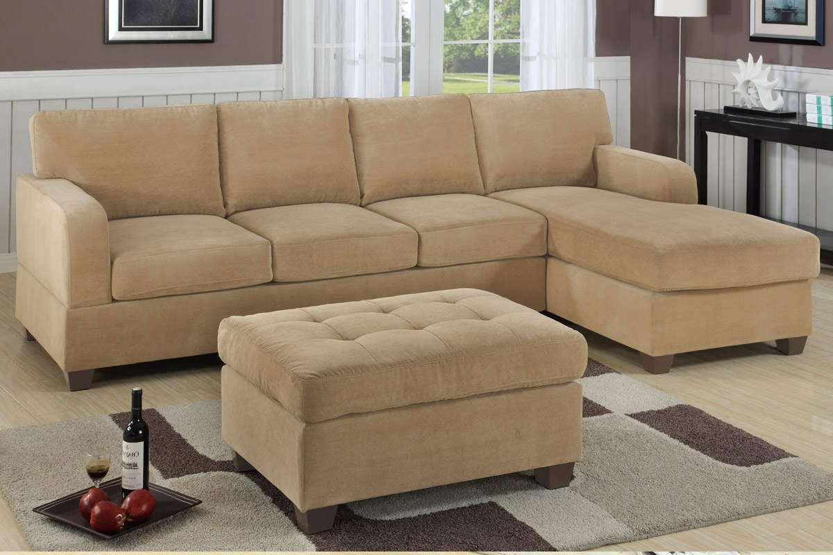 Small Space Light Brown Sectional Sofa With Chaise And Tufted Throughout Famous Small Sectional Sofas With Chaise And Ottoman (View 14 of 15)