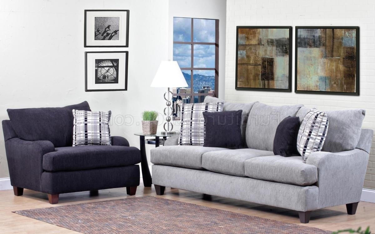 Sofa And Accent Chair Sets For Recent Light Grey Fabric Modern Sofa & Accent Chair Set W/options (View 4 of 15)