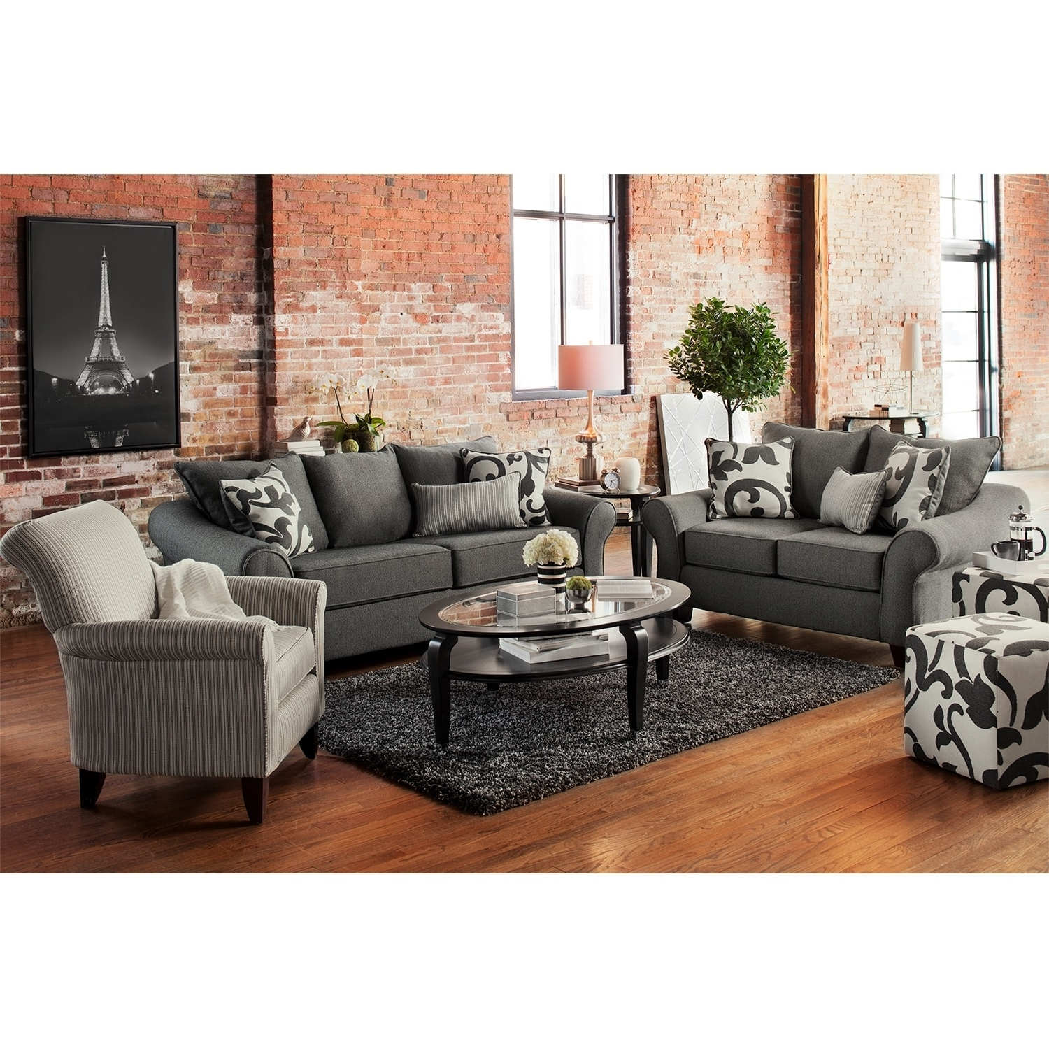 Sofa And Accent Chair Sets Regarding Most Current Sofa Loveseat And Chair Set Pcs Black Classic Leather Sofaseat (View 9 of 15)