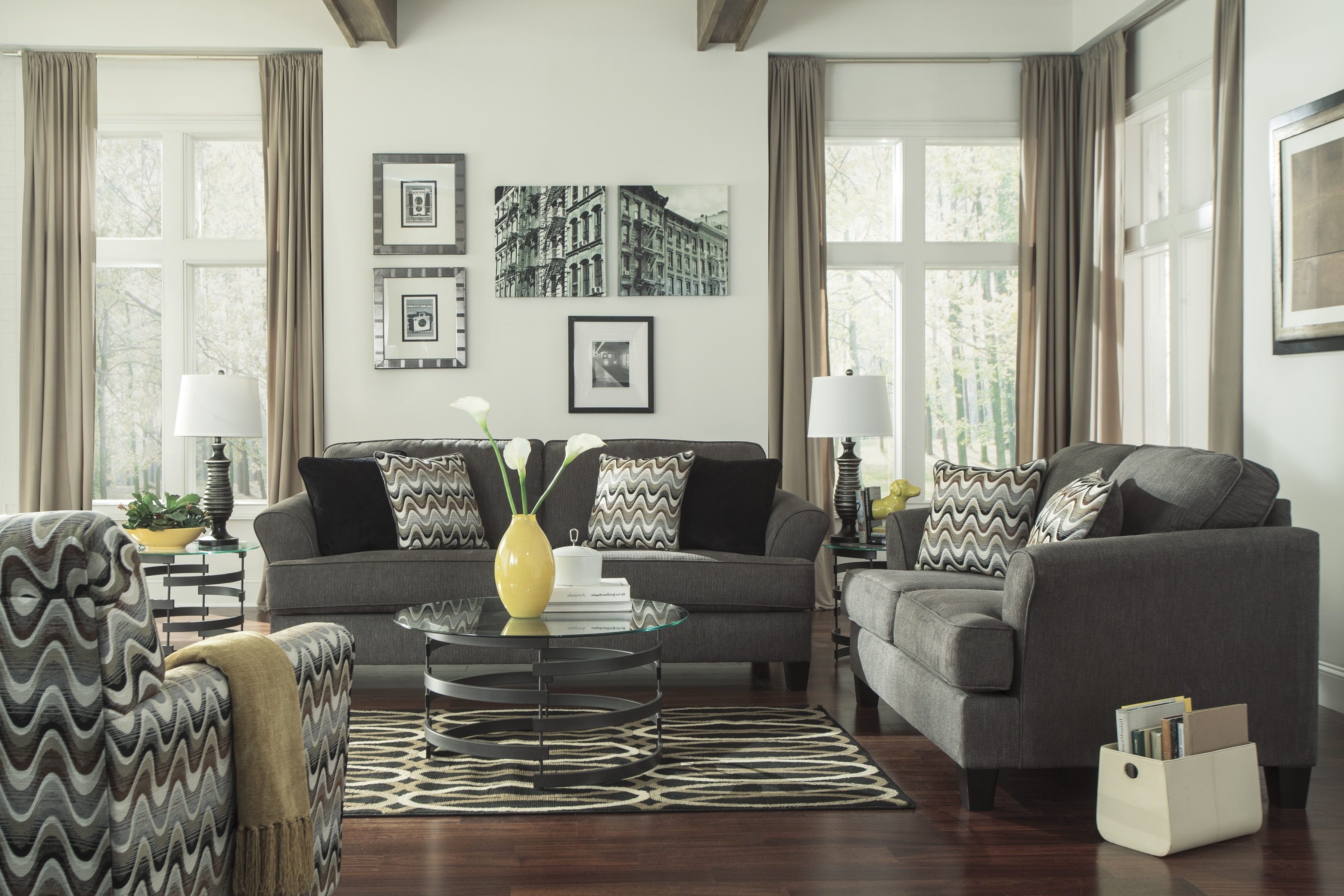 Sofa And Accent Chair Sets With Regard To Recent Ashley Furniture Gayler Steel 3Pc Living Room Set (View 9 of 15)