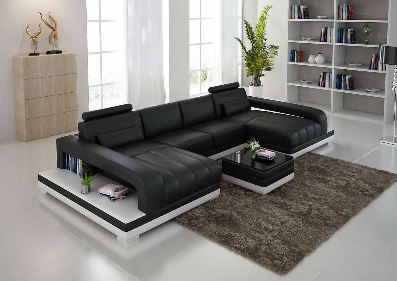 Sofa : Black Sectional Sofa Fabric Sectional Sofas Double Chaise Throughout Newest Double Chaise Sectional Sofas (View 6 of 15)