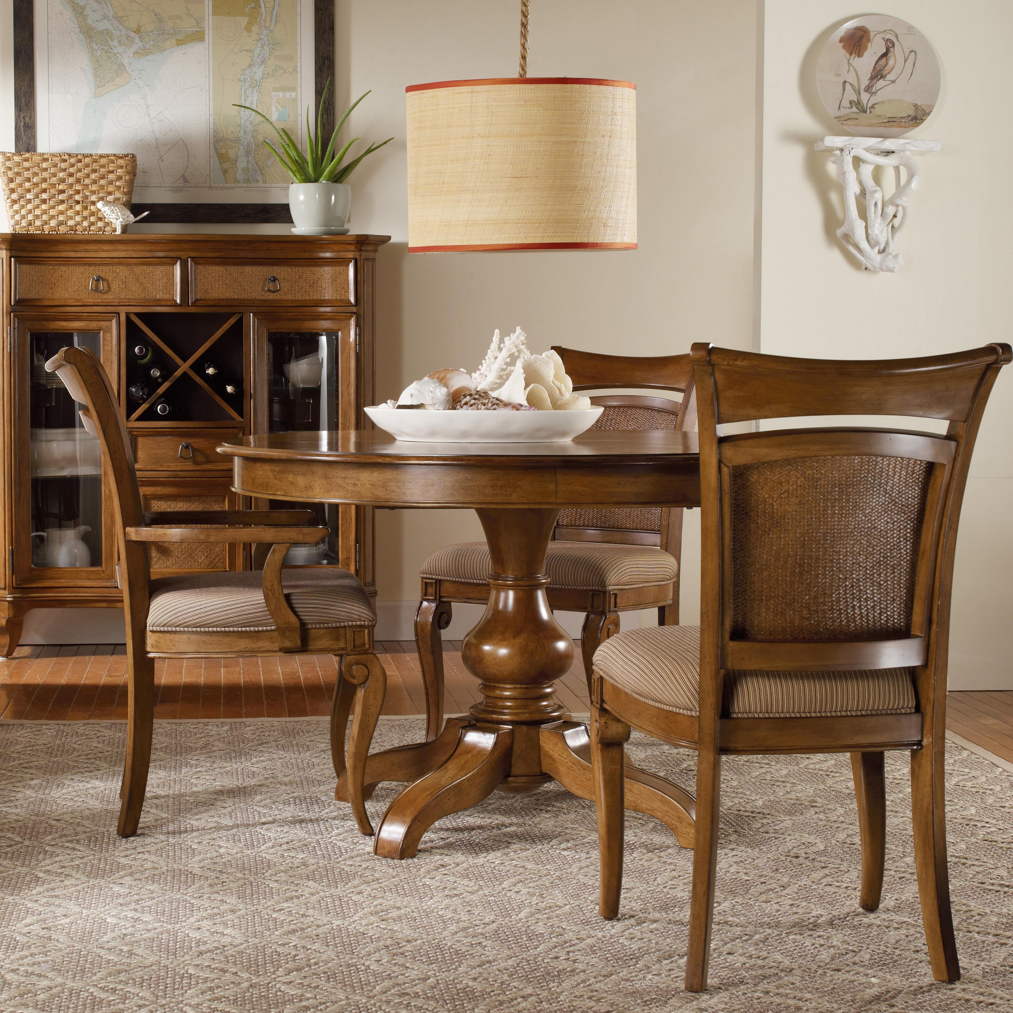 Sofa Chairs With Dining Table Pertaining To Recent Hooker Furniture Windward Pedestal Dining Table & Raffia Chairs (View 7 of 15)