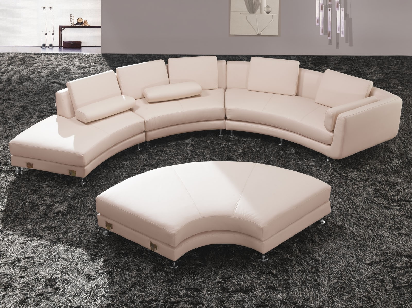 Sofa : Glamorous Round Sectional Sofa Bed Curved Leather Tufted Intended For Newest Round Sofas (View 7 of 15)