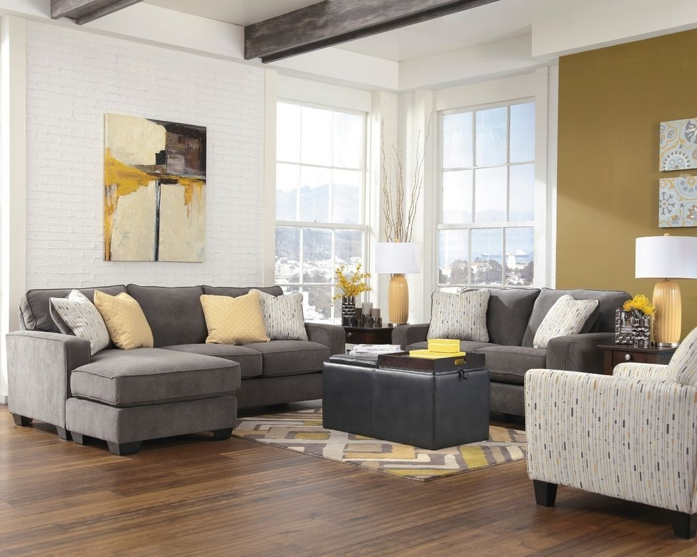 Sofa Loveseat And Chaise Sets Inside Well Known Ashley Hodan Marble Gray Sofa Chaise Loveseat Chair Living Room (View 2 of 15)