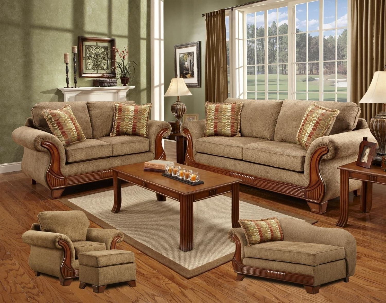 Sofa Loveseat And Chaise Sets Inside Well Known Chelsea Home Verona Iv 5 Piece Set Shannen Sofa Shannen Shannen (View 9 of 15)