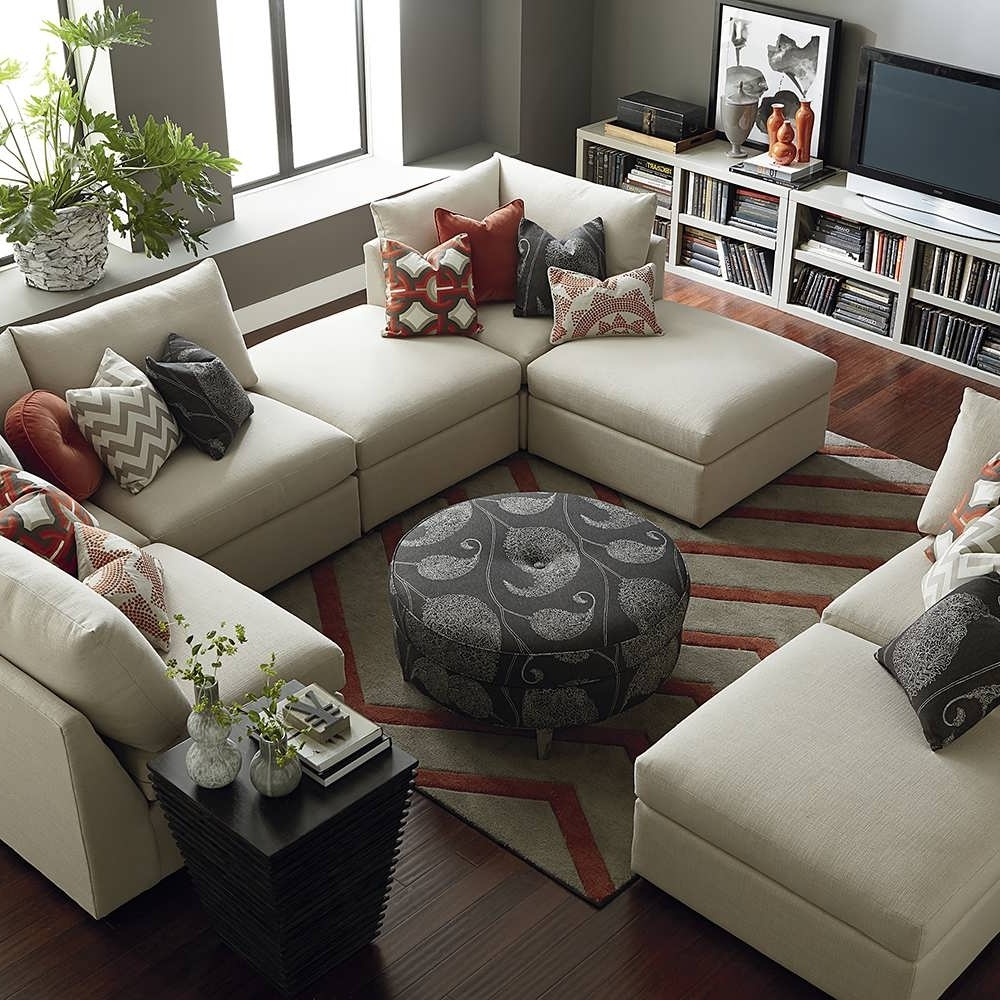 Sofa : Ottoman Couch U Shaped Sectional Small Sectional Grey Inside Preferred U Shaped Sectionals With Chaise (View 6 of 15)