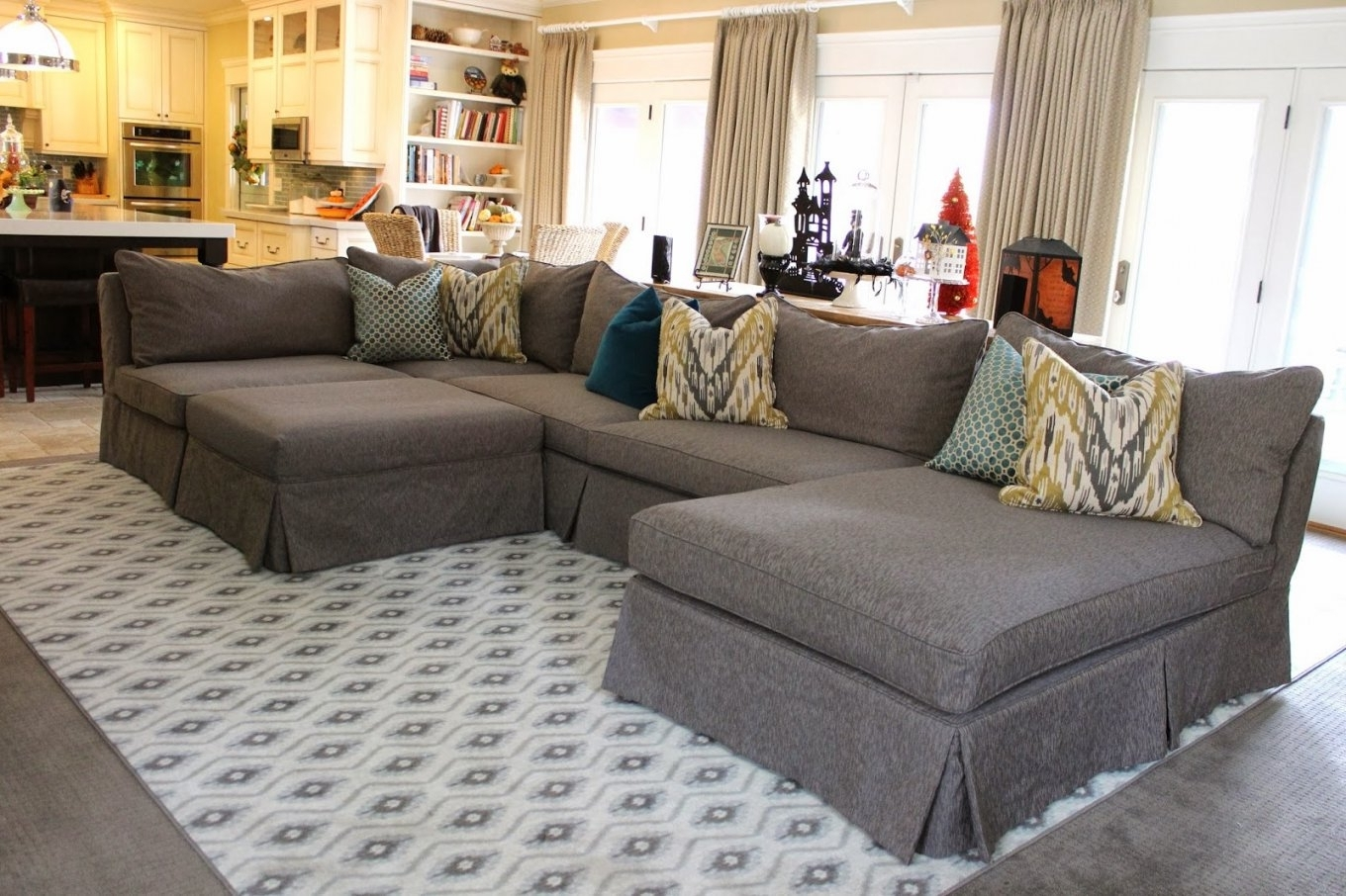 Sofa Set With White Cover Or Slipcover For Chaise Plus For Chaise Inside Best And Newest Slipcovers For Sectional Sofas With Chaise (View 10 of 15)