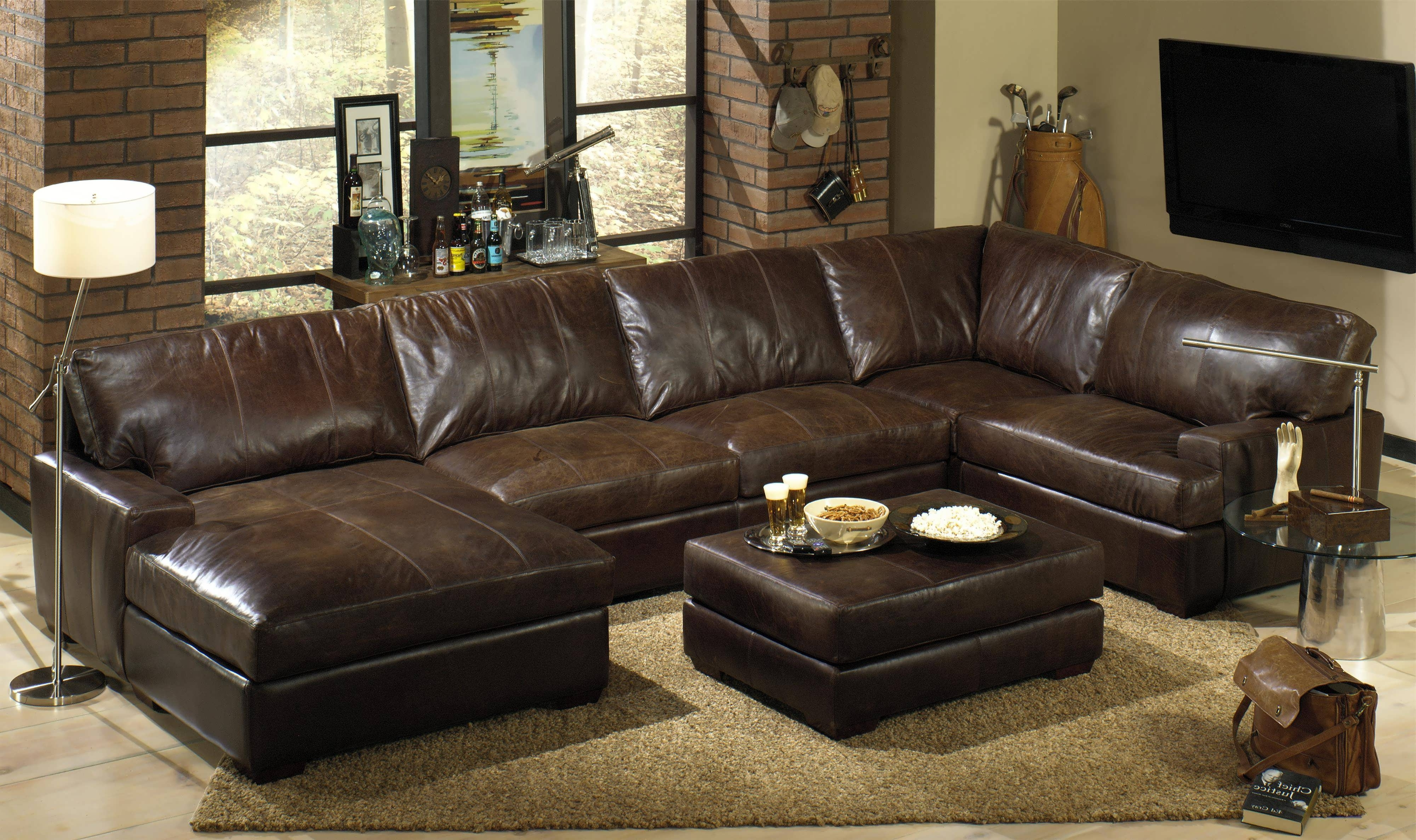 Sofa : Tan Sectional Couch Leather Sectional Sofa With Recliner Throughout Most Popular Leather Sectional Sleeper Sofas With Chaise (View 9 of 15)
