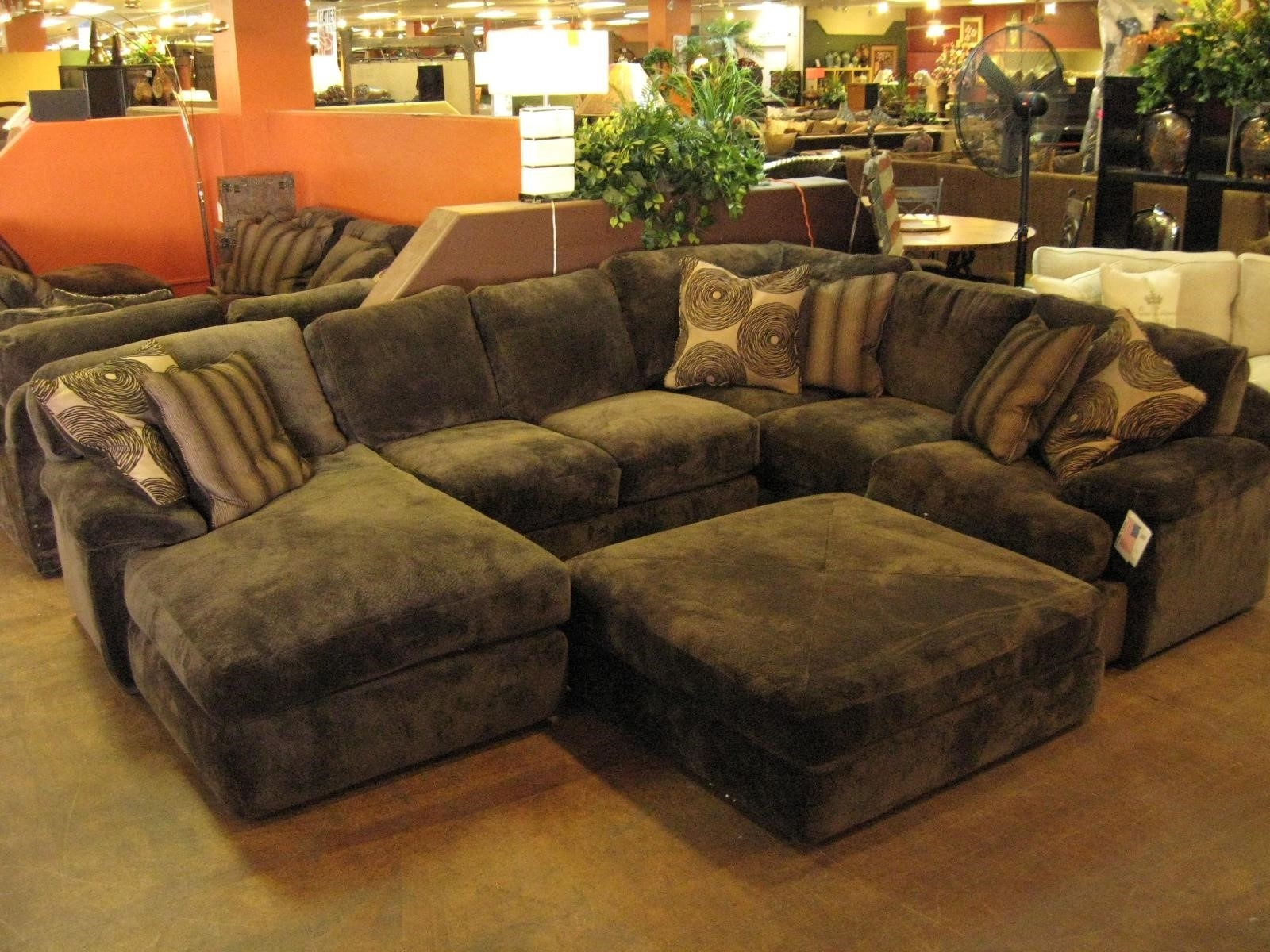 Sofas Marvelous Brown Sectional Couch Cheap For Large Sofa With Inside Trendy Sofas With Large Ottoman (View 10 of 15)