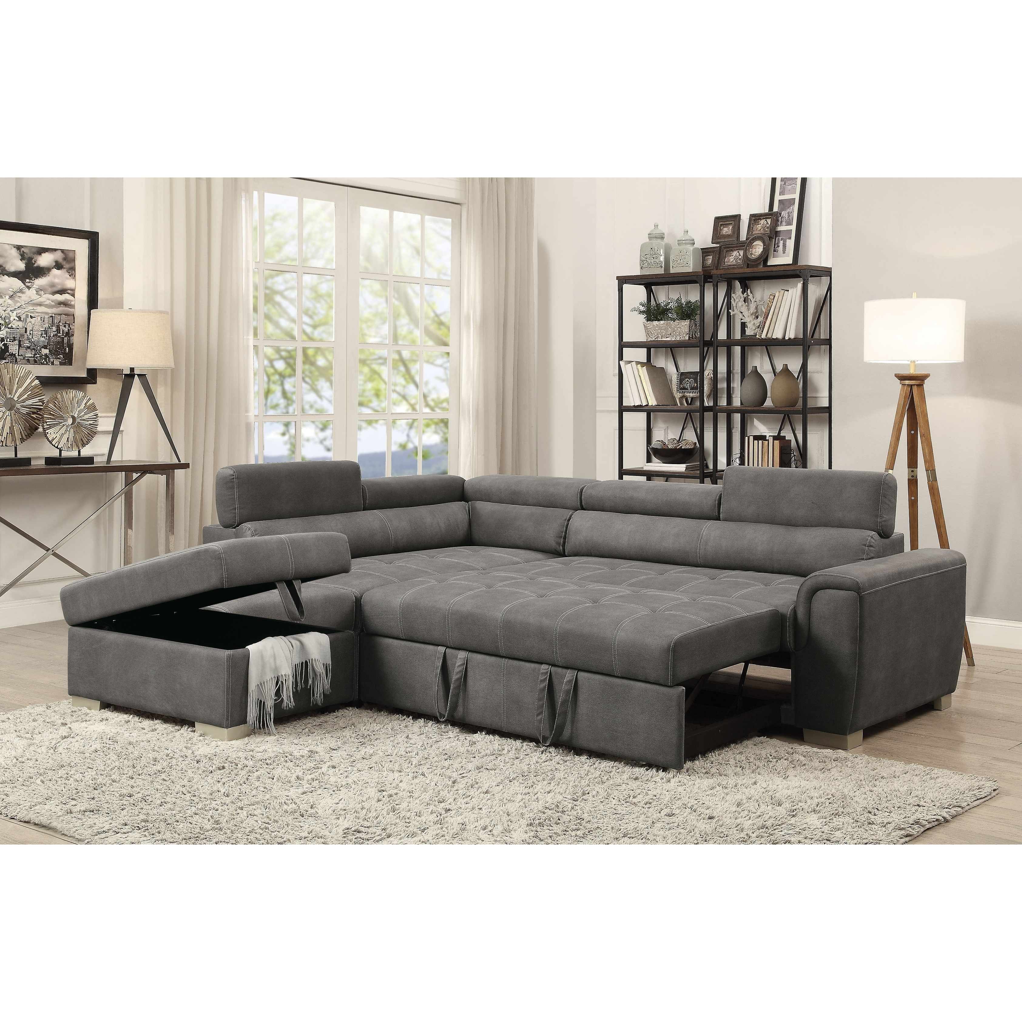 Sofas With Chaise And Ottoman Within Latest Acme Thelma Grey Microfiber L Shaped Sectional Sofa With Sleeper (View 13 of 15)