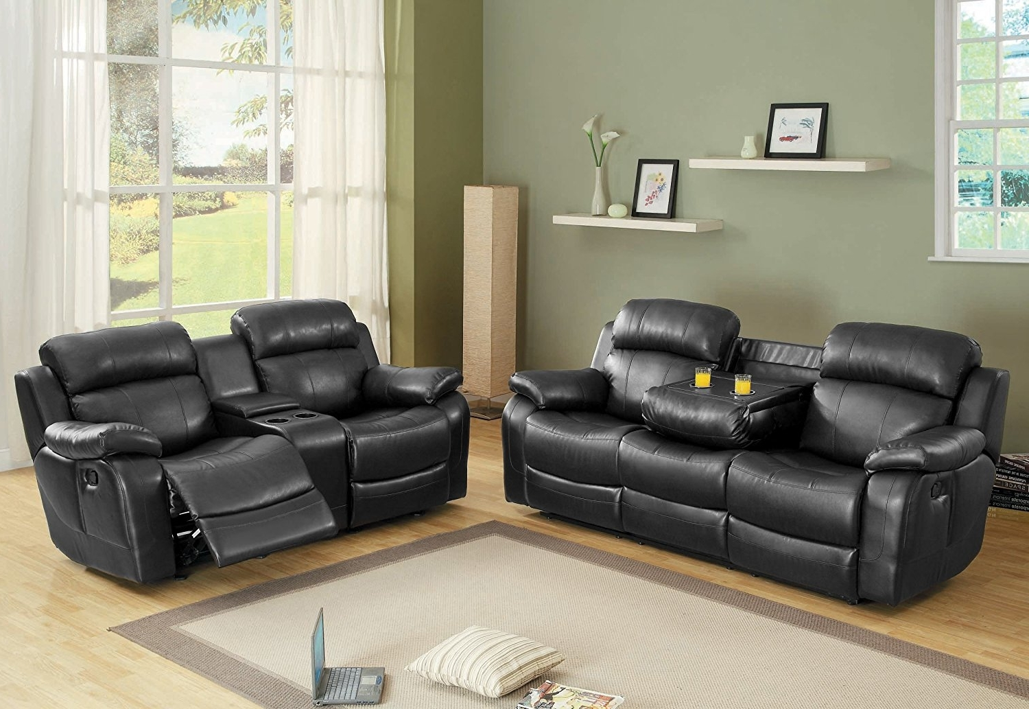 Sofas With Consoles Regarding Trendy Amazon: Homelegance Marille Reclining Sofa W/ Center Console (View 6 of 15)