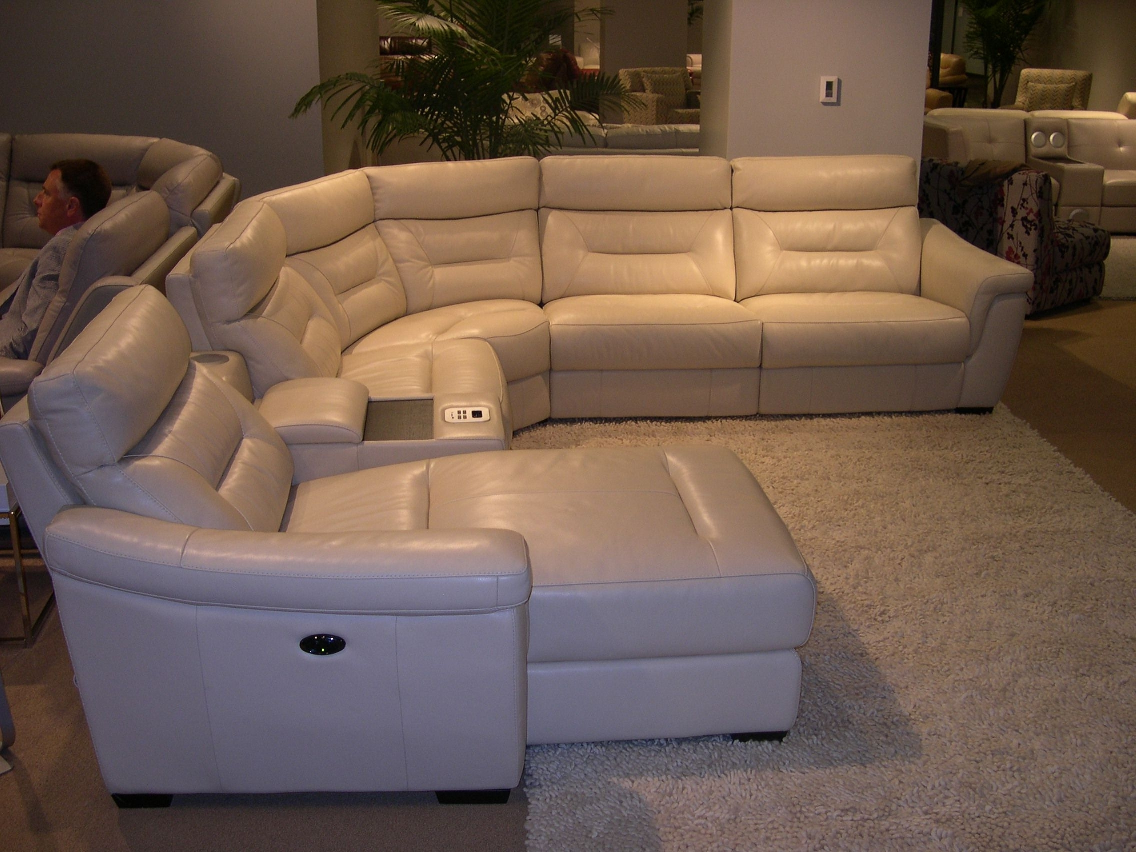 Sofas With Consoles With Newest Htl Leather Sectional – Adjustable Headrests (View 3 of 15)