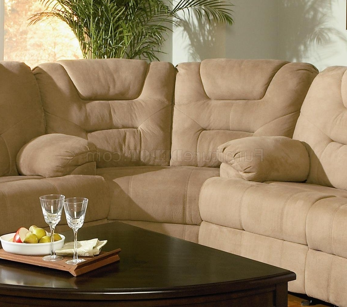 Sofas With High Backs Regarding Popular Modern Microfiber Reclining Sectional Sofa 600351 Mocha (View 7 of 15)