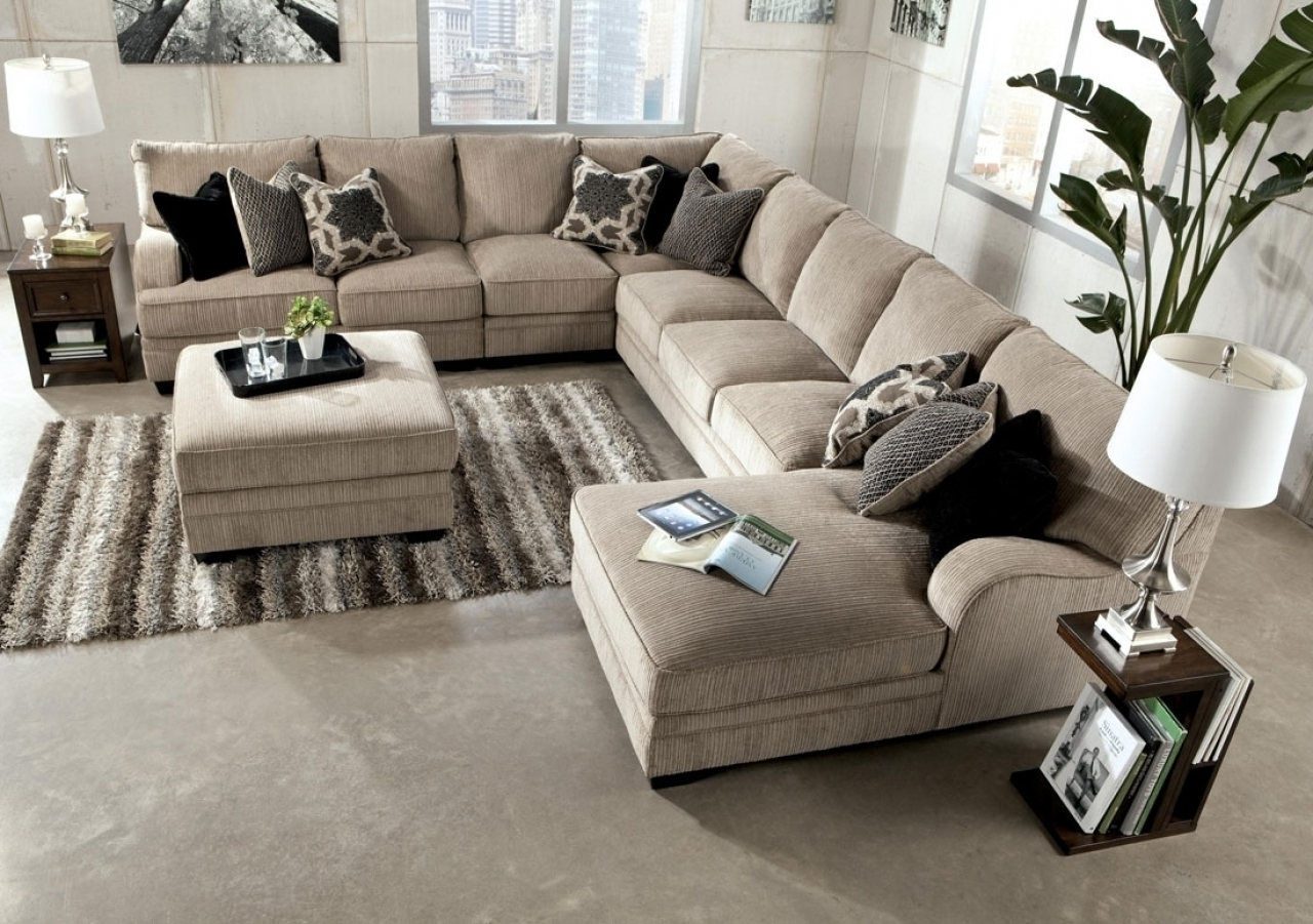 Sofas With Large Ottoman For Newest Good Large Sectional Sofa With Ottoman 97 For Sofas And Couches (View 11 of 15)