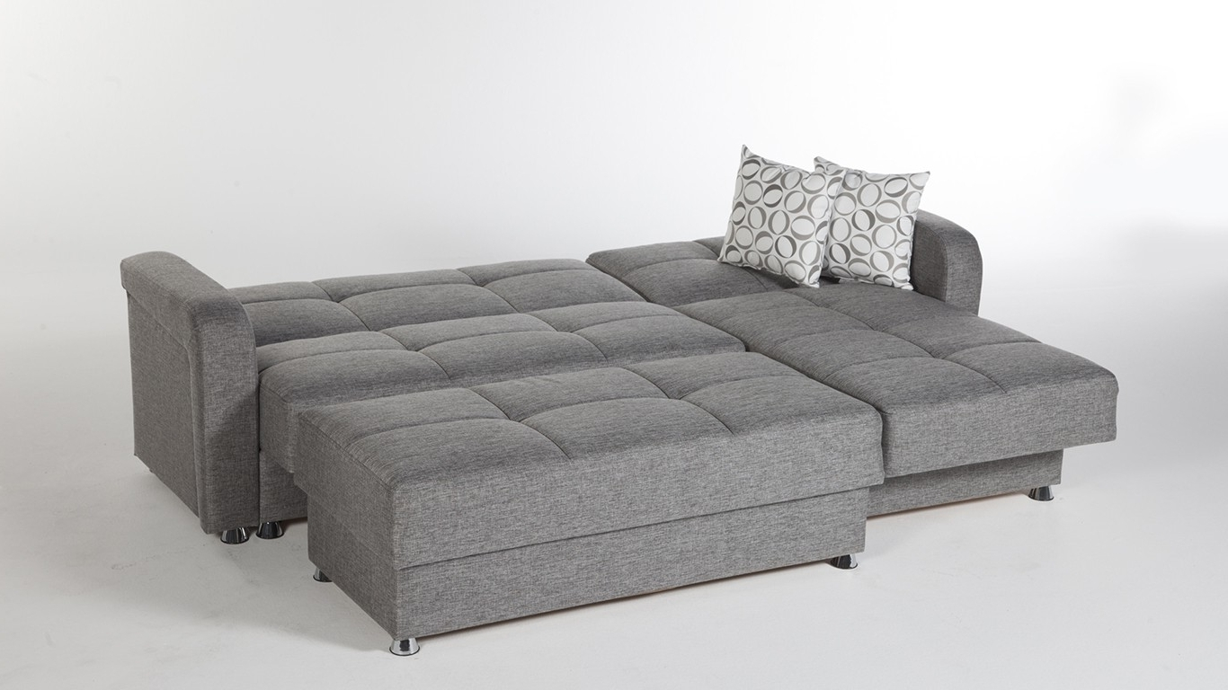 Sofas With Large Ottoman Intended For Best And Newest Large 3 Piece Microfiber Tufted Sectional Sleeper Sofa With (View 11 of 15)