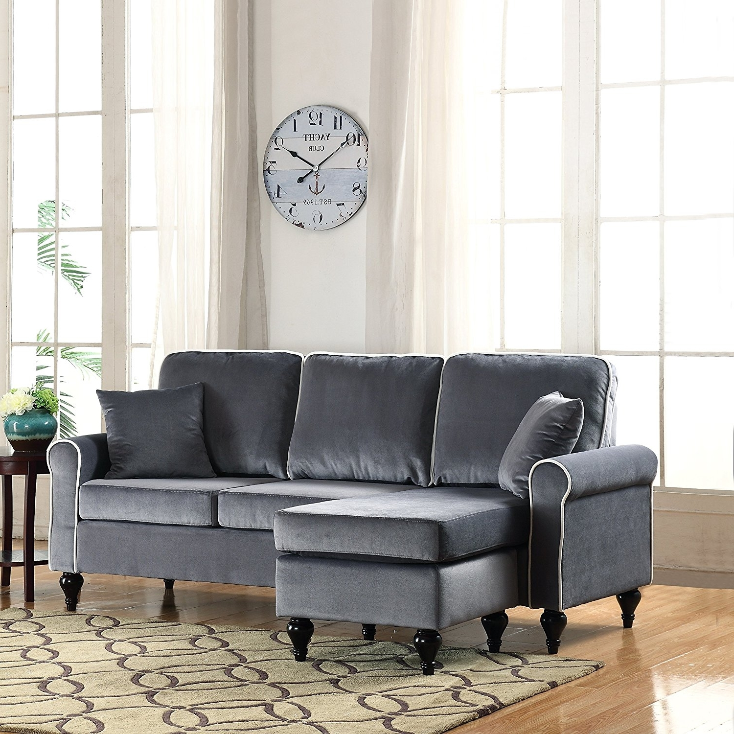 Sofas With Reversible Chaise Lounge Regarding Best And Newest Amazon: Classic And Traditional Small Space Velvet Sectional (View 10 of 15)