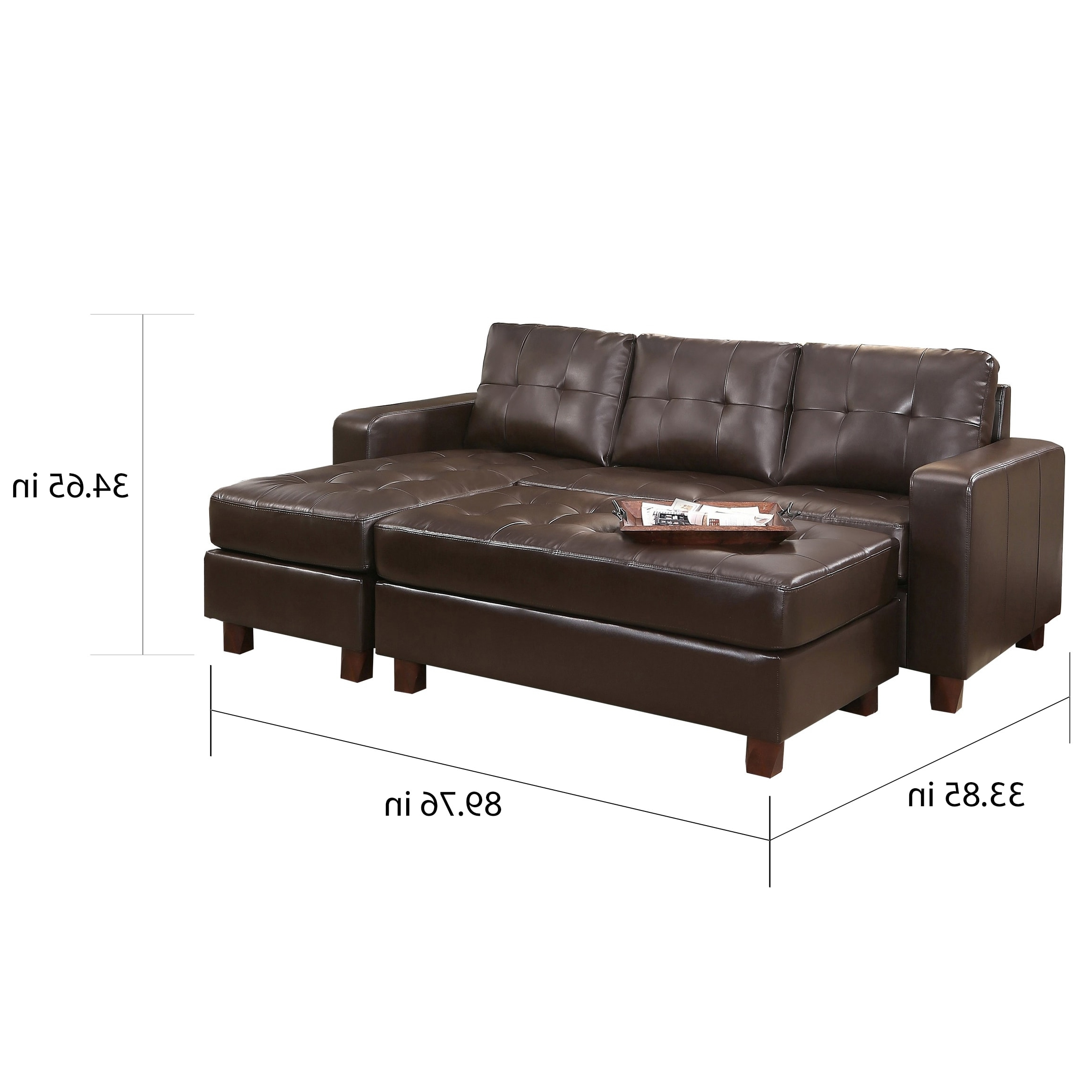 Sofas With Reversible Chaise Lounge With Regard To Latest Abbyson Montgomery Leather Reversible Sectional And Ottoman – Free (View 5 of 15)