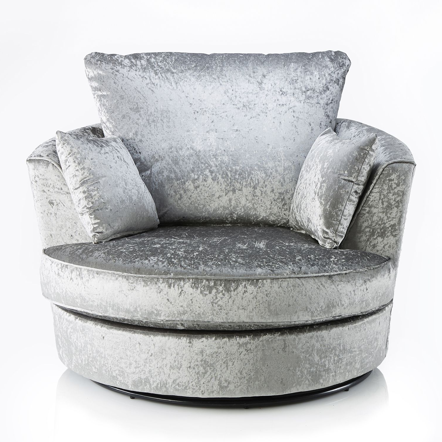 Sofas With Swivel Chair Within Most Recent Michigan Velvet Swivel Chair Silver (View 3 of 15)