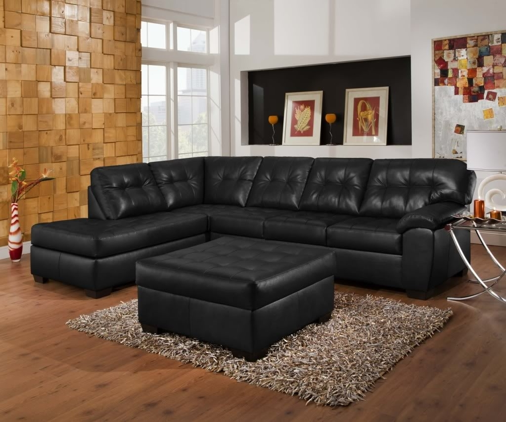 Soho Contemporary Black Bonded Leather Tufted Sectional Sofa W Regarding Trendy Simmons Sectional Sofas (View 3 of 15)