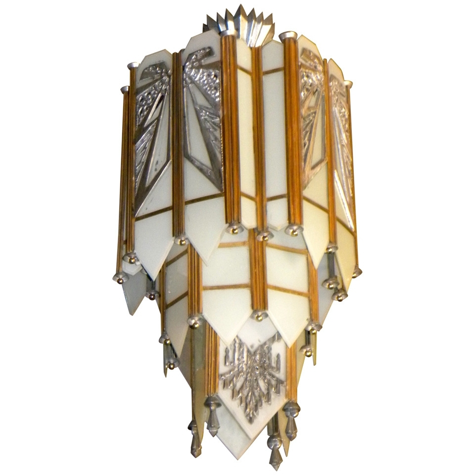 Spectacular Art Deco Zig Zag Movie Theater Chandelier (View 7 of 15)