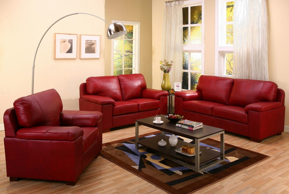 Spectacular Red Leather Couch Living Room Ideas 11 In With Red In Famous Red Leather Couches For Living Room (View 14 of 15)