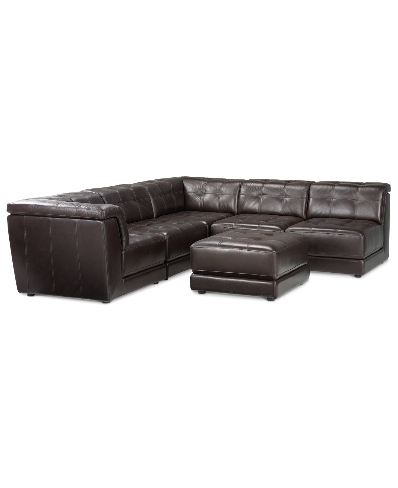 Stacey Leather 6 Piece Modular Sectional Sofa (3 Armless Chairs, 2 Regarding 2018 Macys Leather Sectional Sofas (View 3 of 15)