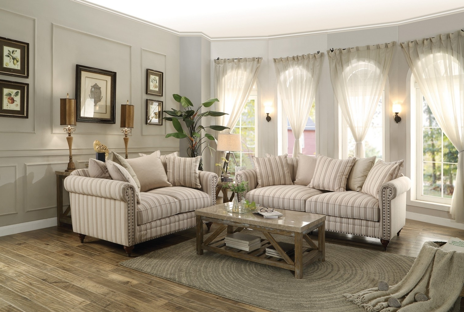 Striped Sofas And Chairs In Most Recent Homelegance Hadleyville Sofa Set – Polyester – Neutral Tone (View 13 of 15)