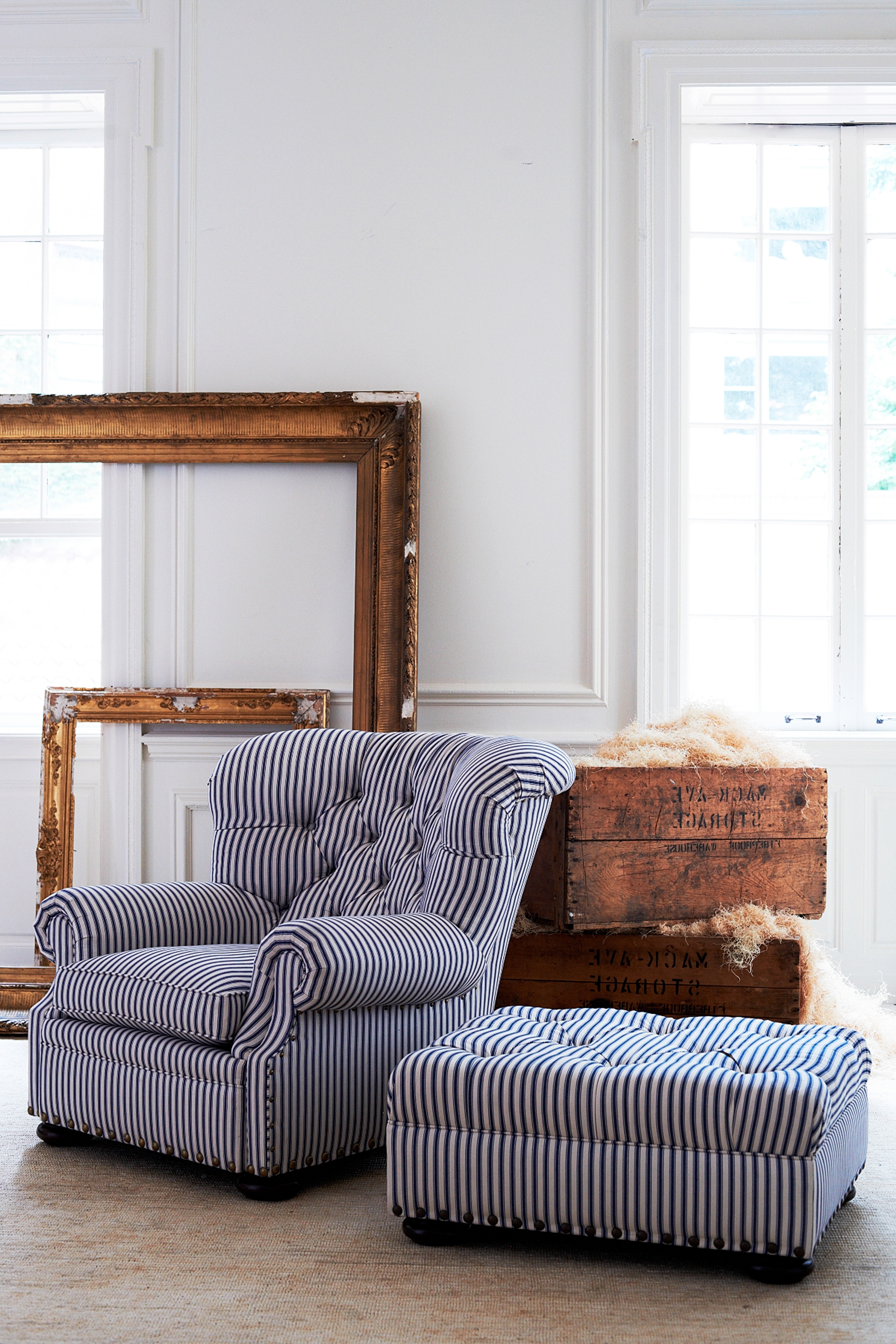 Striped Sofas And Chairs Pertaining To Well Known Ralph Lauren Home's Tufted Writer's Chair And Ottoman Reimagined (View 13 of 15)