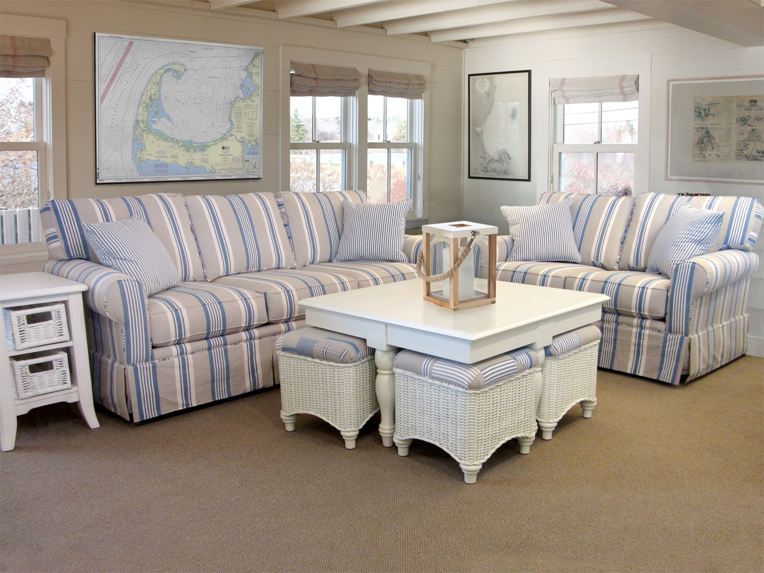Striped Sofas And Chairs Throughout Trendy Awning Stripe Sofa (View 14 of 15)