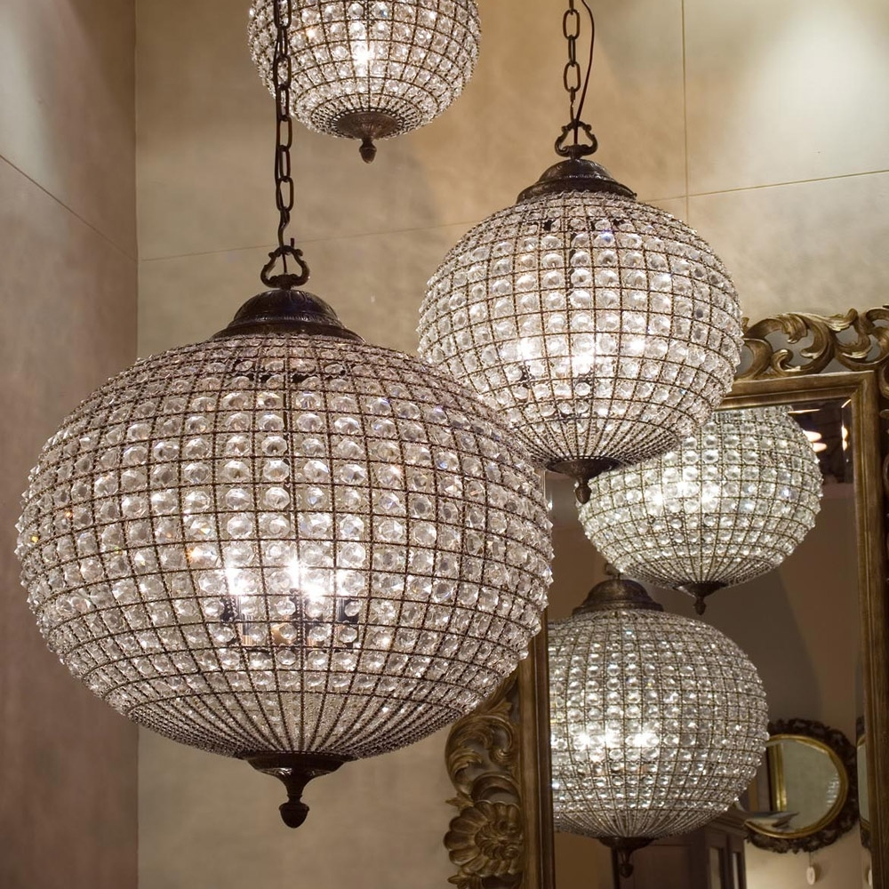 Stunning Large Crystal Ball Chandelier Beautiful Globe (View 15 of 15)
