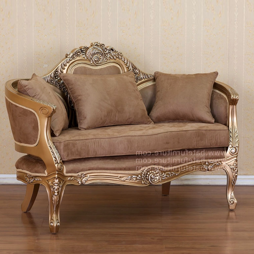 Style Sofa 2 Seater Gold Within 2018 French Style Sofas (View 7 of 15)