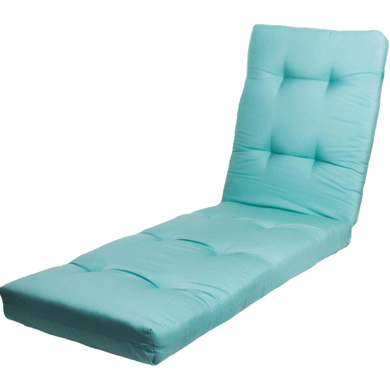 Sunbrella Canvas Glacier Extra Long Outdoor Replacement Chaise With Well Known Chaise Lounge Outdoor Cushions (View 10 of 15)