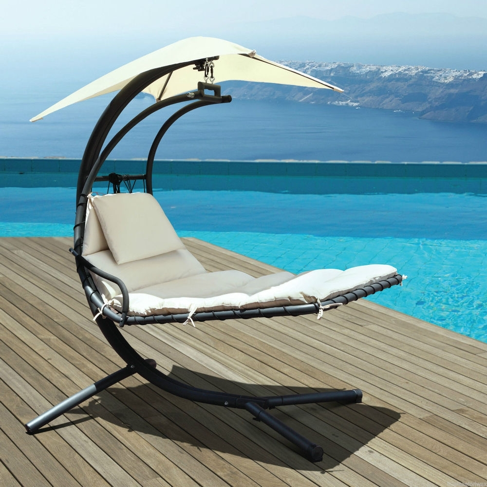 Swing Canopy 2 Seat Outdoor Chairs Sun Shading Patio Garden Steel For Trendy Lakeport Outdoor Adjustable Chaise Lounge Chairs (View 10 of 15)
