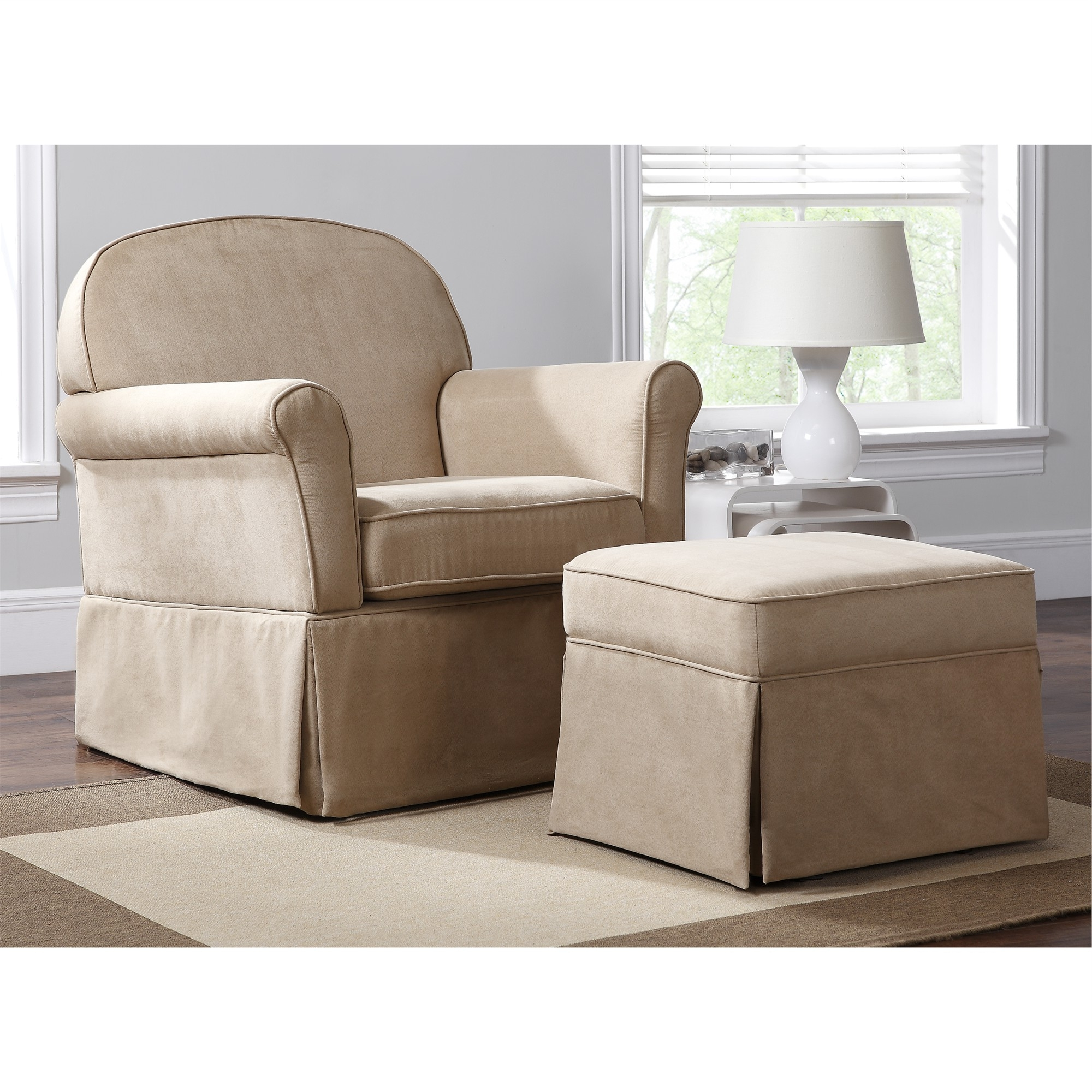 Swivel Glider & Ottoman Set, Beige (View 14 of 15)