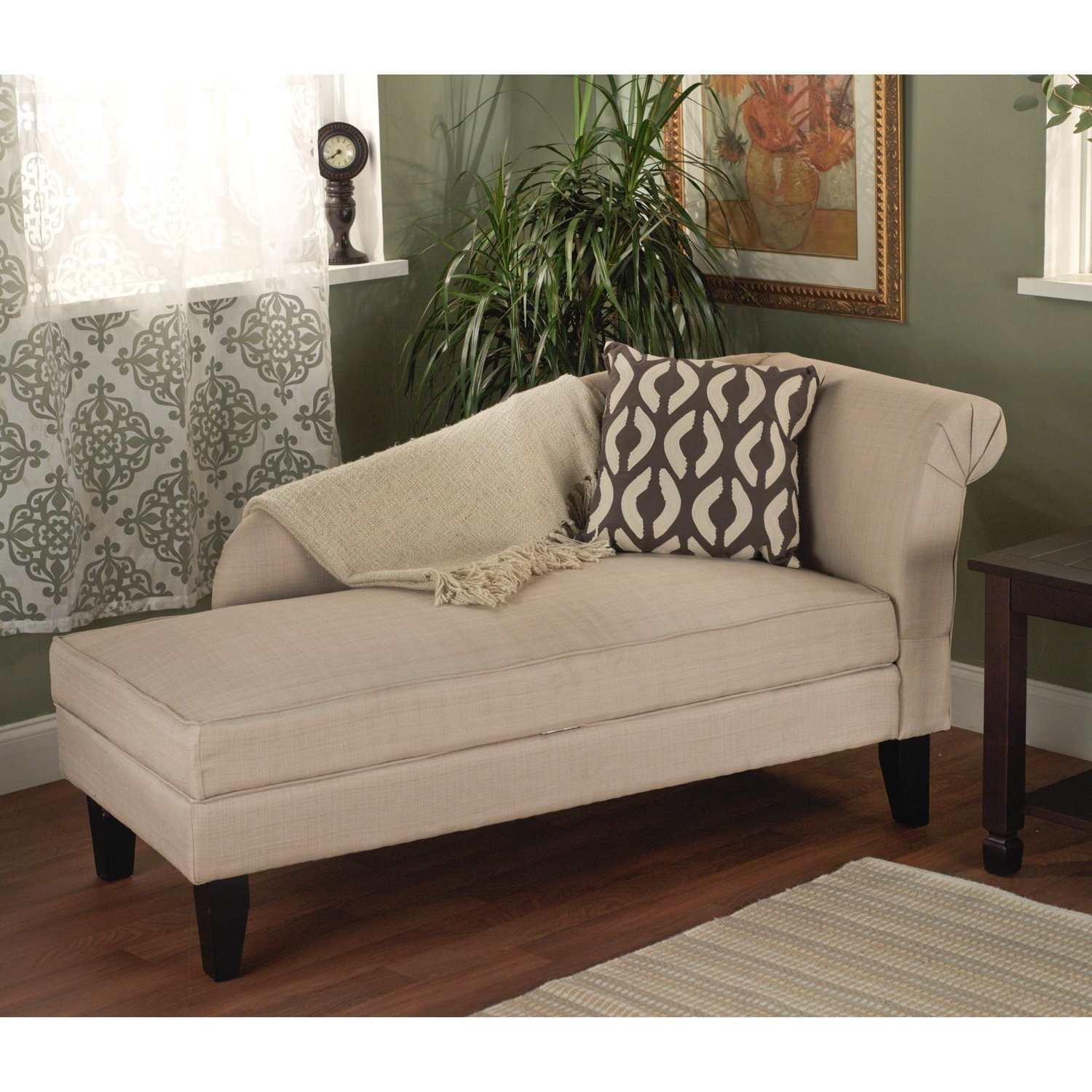 Target Marketing Systems,leena Storage Chaise Lounger  Beige Throughout Recent Chaises For Bedroom (View 6 of 15)