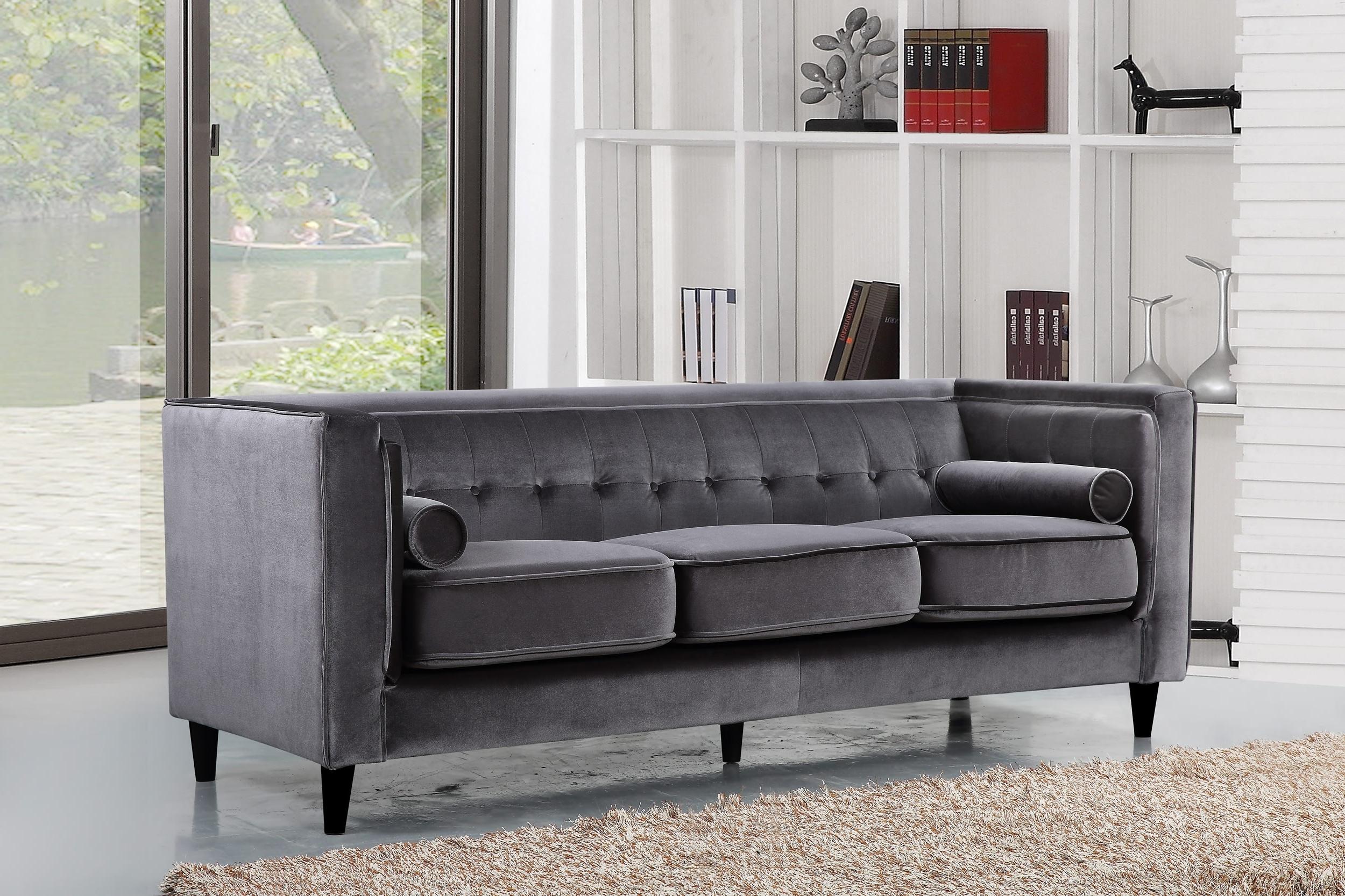 Taylor Velvet Sofa, Grey Buy Online At Best Price – Sohomod With Regard To Fashionable Velvet Sofas (View 8 of 15)