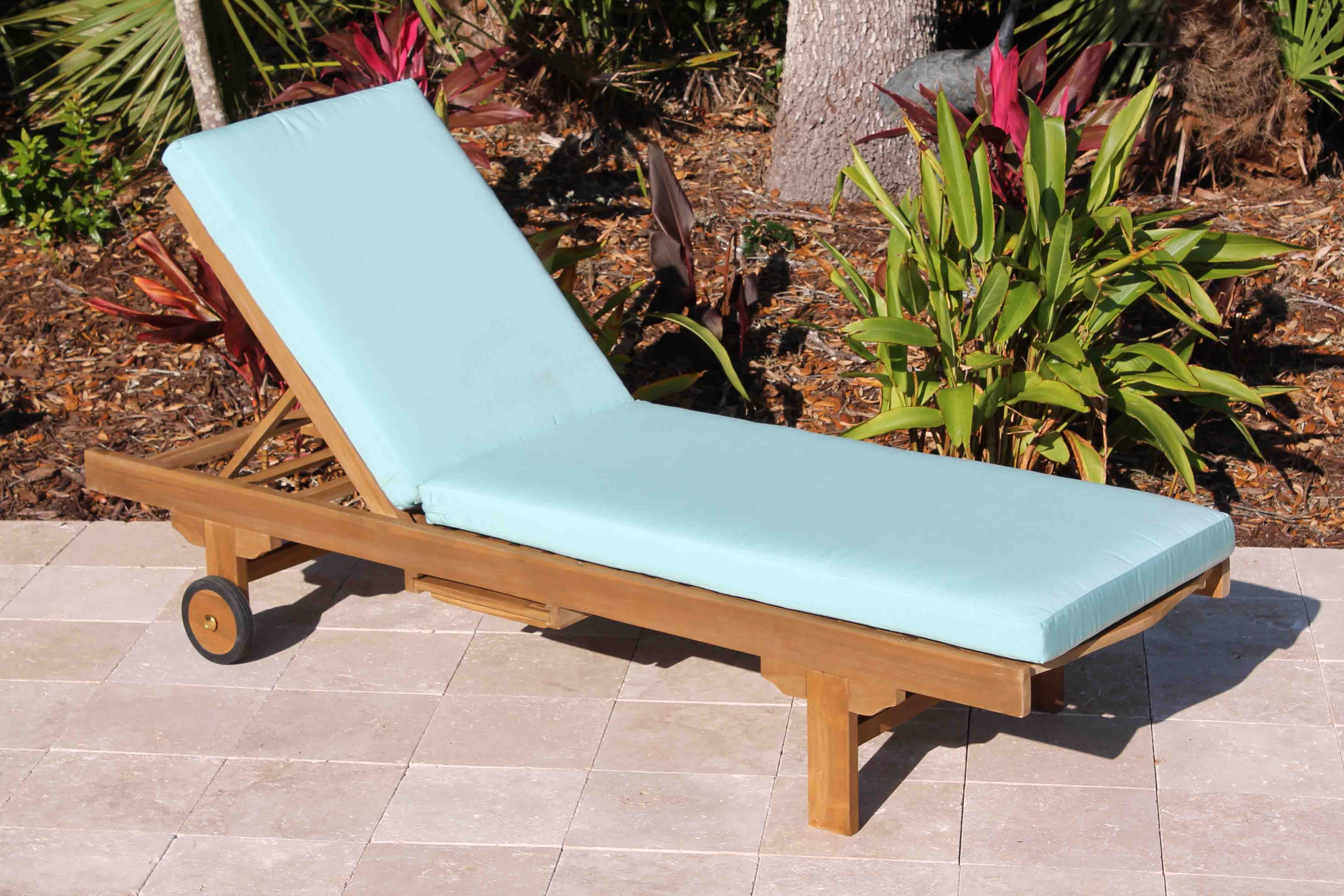 Teak Chaise Lounges Intended For Most Recently Released Sale Sunbrella Fabric Chaise Lounge Cushion (View 12 of 15)
