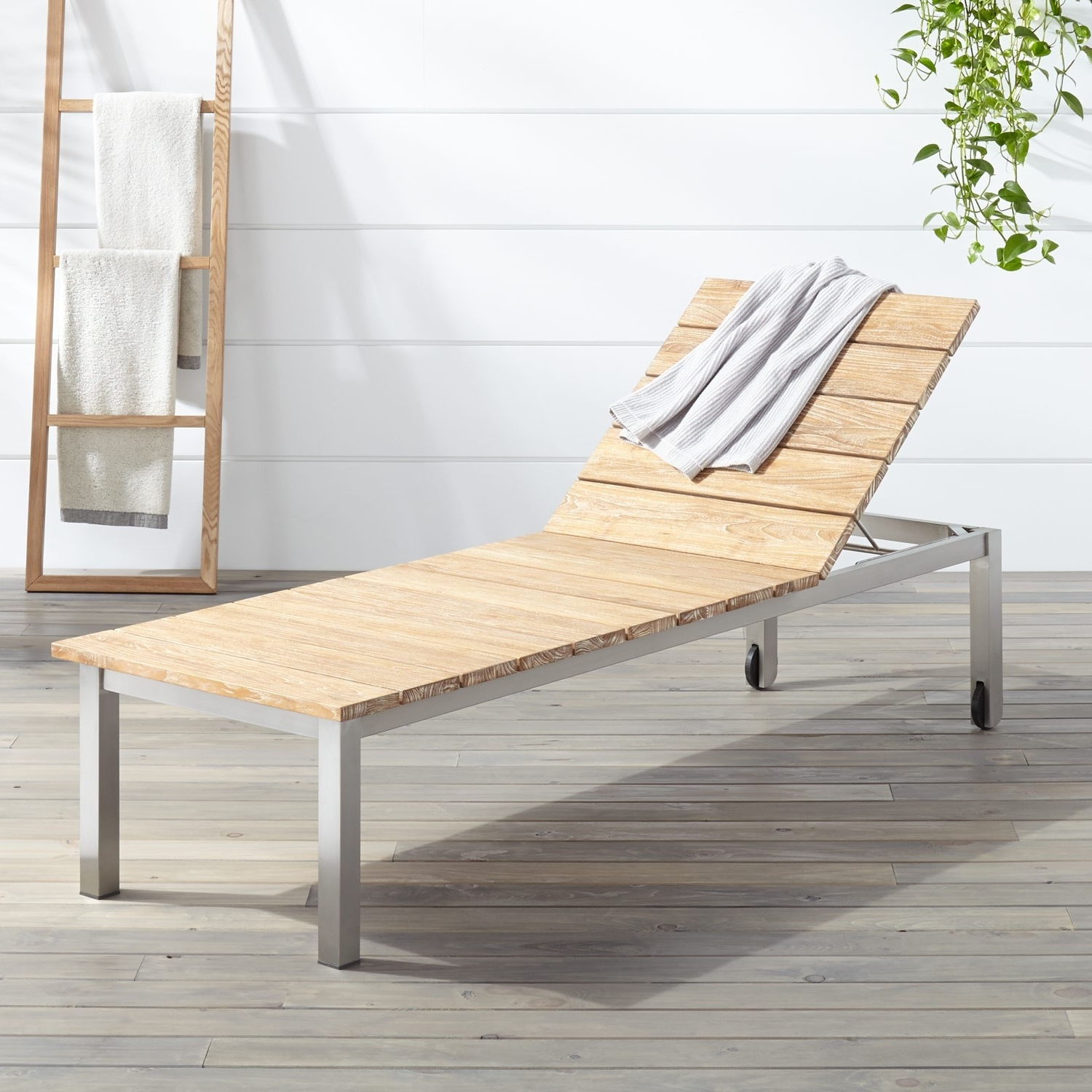 Teak Chaise Lounges With Regard To Trendy Macon Teak Outdoor Chaise Lounge Chair – Whitewash – Outdoor (View 11 of 15)