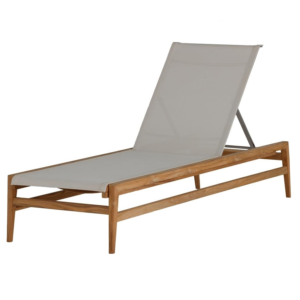 Teak Chaise Lounges Within Most Current Summer Classics Coast Teak Sling Canvas Outdoor Chaise Lounge (View 12 of 15)