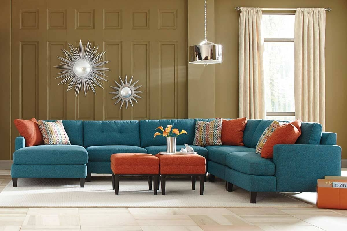 Teal Color Custom Sectional Sofa, Made In The Usa Los Angeles With Regard To 2017 Los Angeles Sectional Sofas (View 10 of 15)
