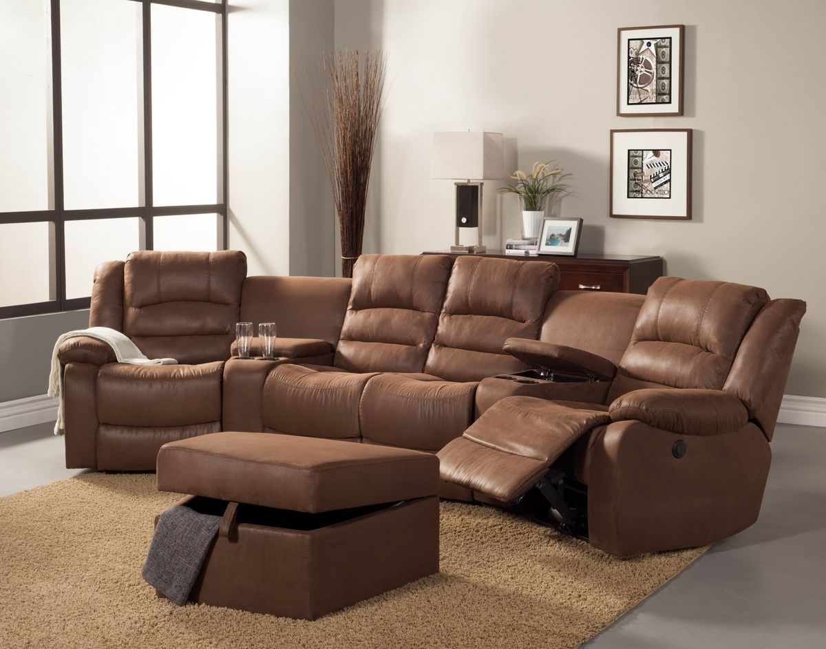 Theatre Sectional Sofas Throughout Newest 5 Pc Tucker Collection Brown Bomber Jacket Microfiber Upholstered (View 13 of 15)