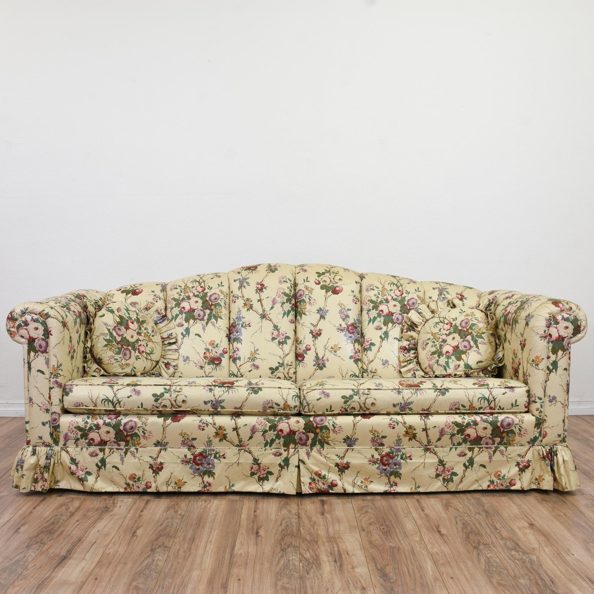 This Sofa Is Upholstered In A Durable Off White Beige, Pink And With Regard To Most Recent Chintz Sofas (View 2 of 15)